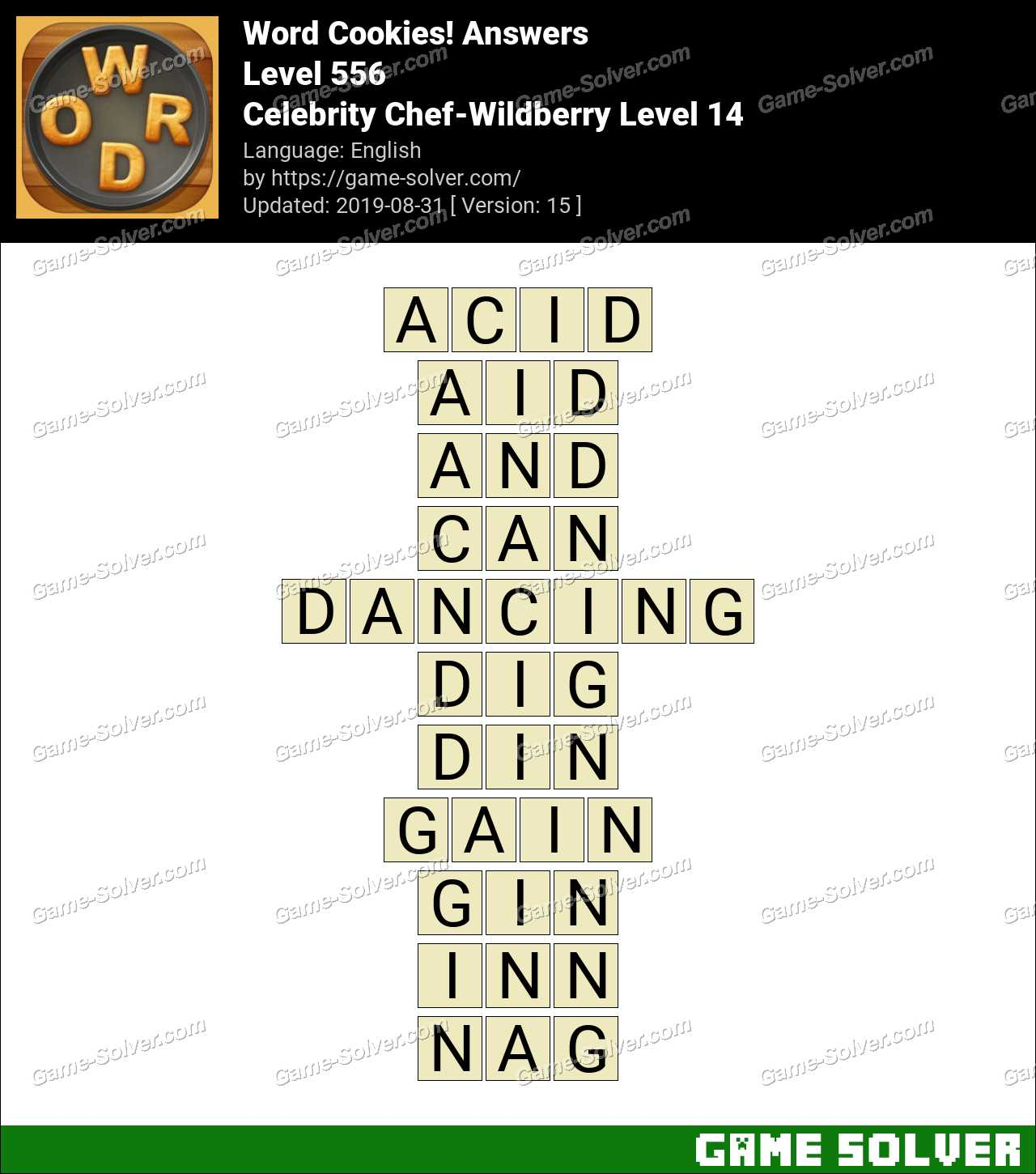 Word Cookies Celebrity Chef-Wildberry Level 14 Answers
