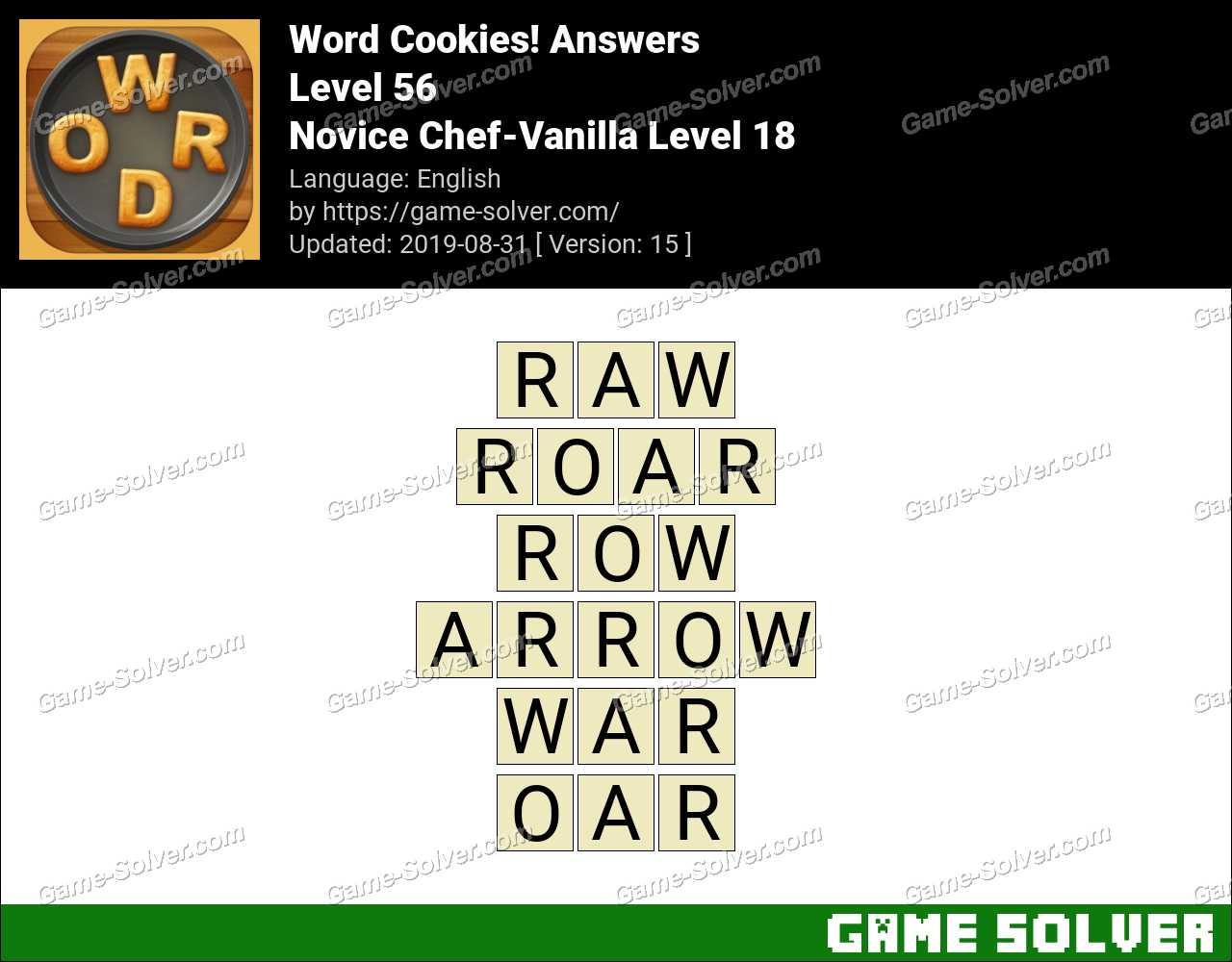 Word Cookies Novice Chef-Vanilla Level 18 Answers