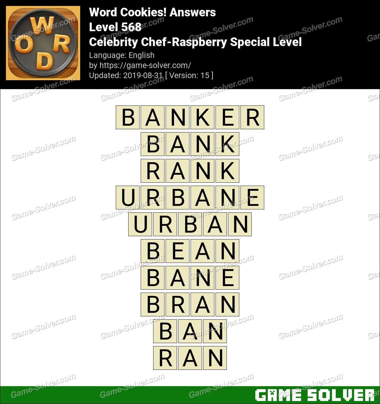 Word Cookies Celebrity Chef-Raspberry Special Level Answers