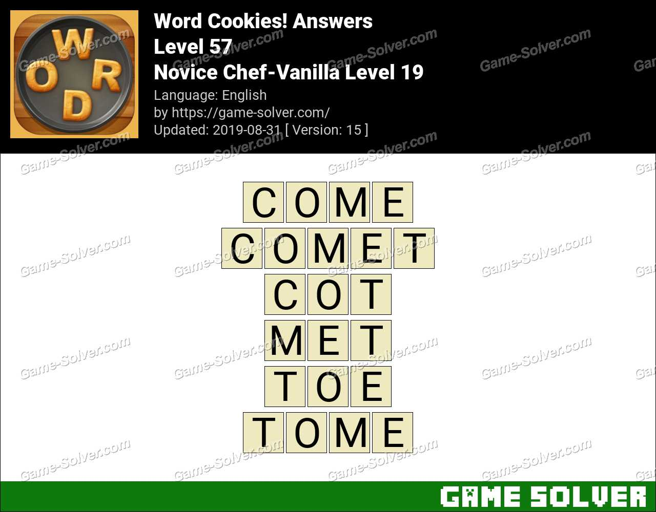 Word Cookies Novice Chef-Vanilla Level 19 Answers