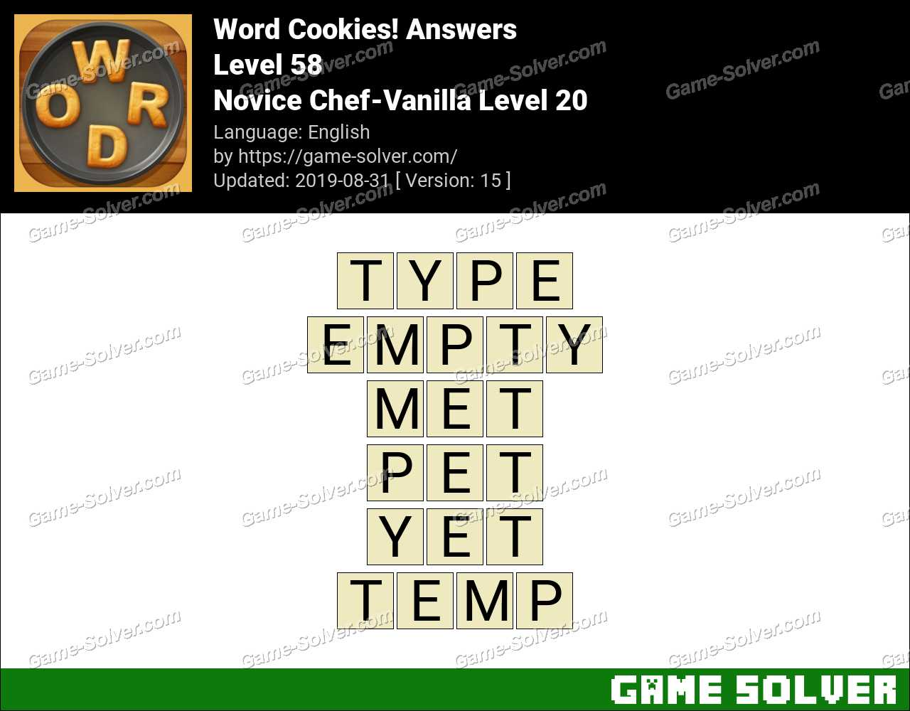 Word Cookies Novice Chef-Vanilla Level 20 Answers