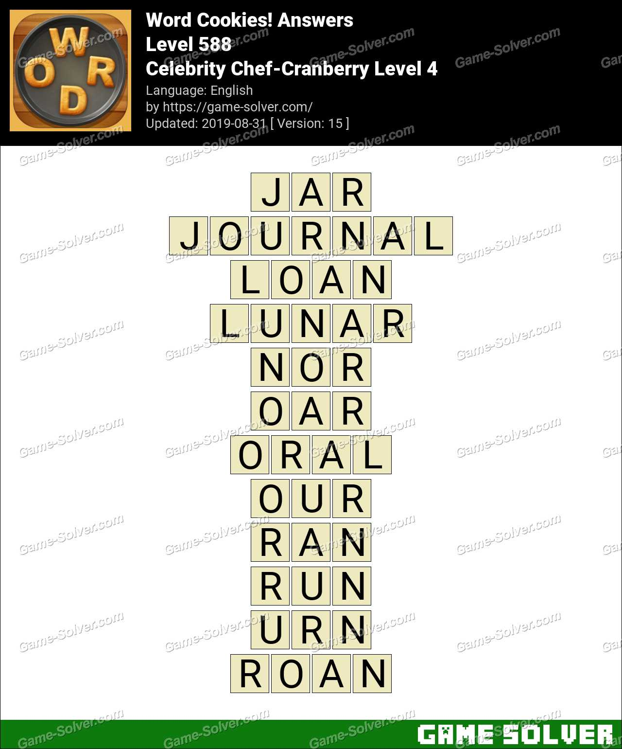 Word Cookies Celebrity Chef-Cranberry Level 4 Answers