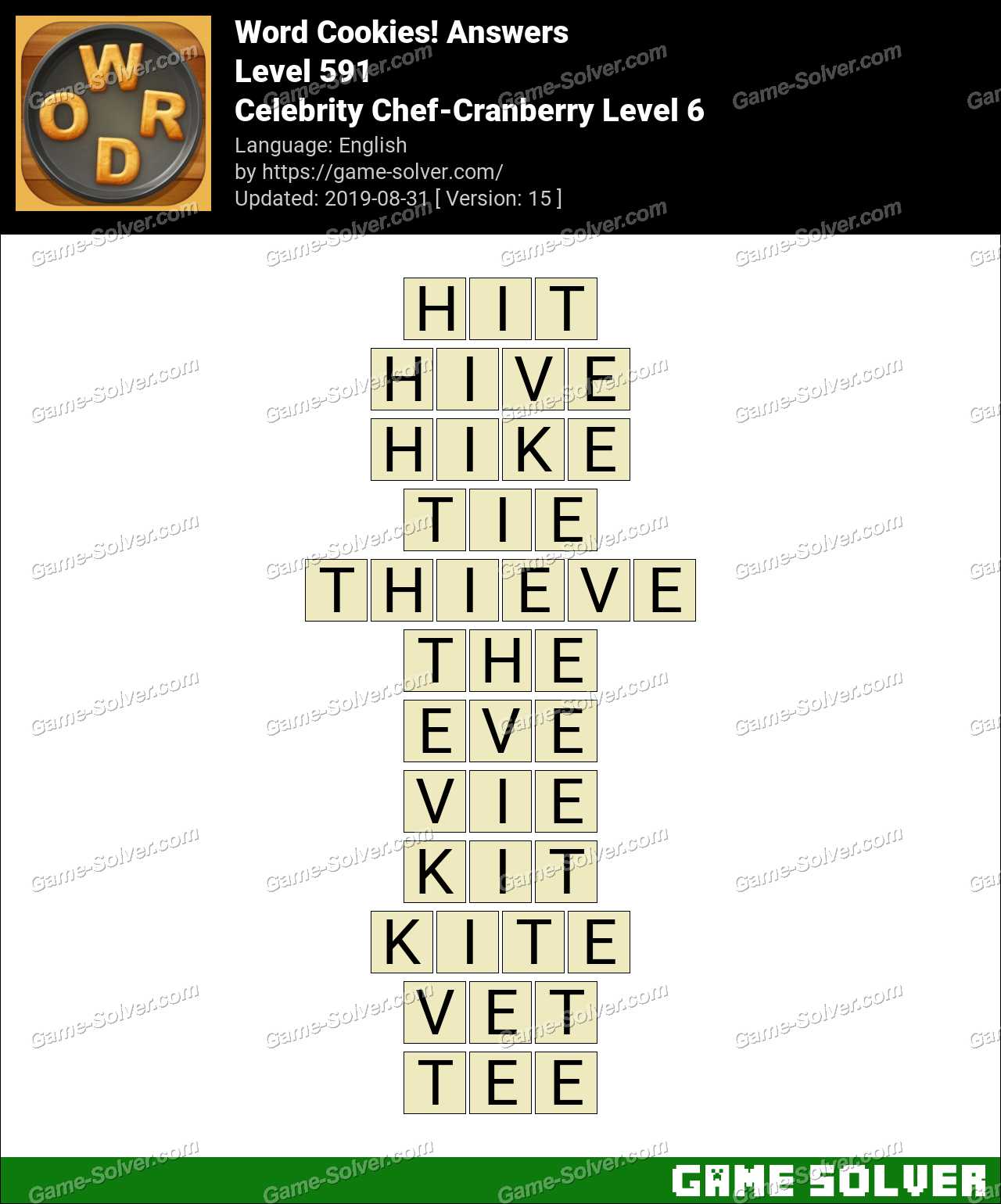 Word Cookies Celebrity Chef-Cranberry Level 6 Answers
