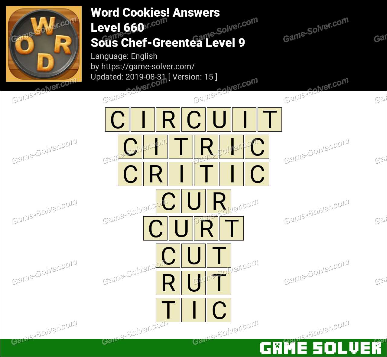 Word Cookies Sous Chef-Greentea Level 9 Answers