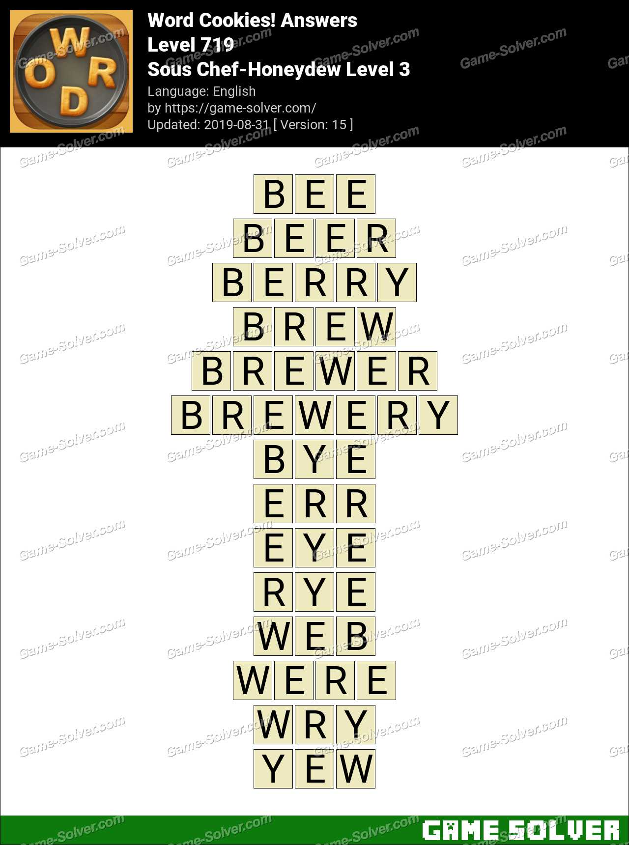 Word Cookies Sous Chef-Honeydew Level 3 Answers