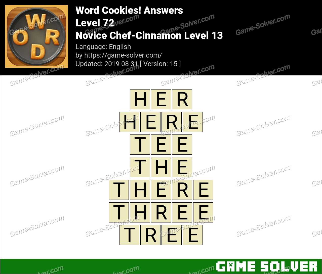 Word Cookies Novice Chef-Cinnamon Level 13 Answers