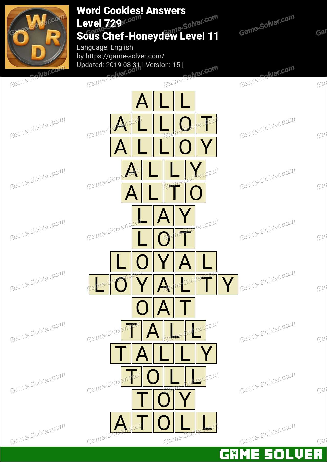 Word Cookies Sous Chef-Honeydew Level 11 Answers