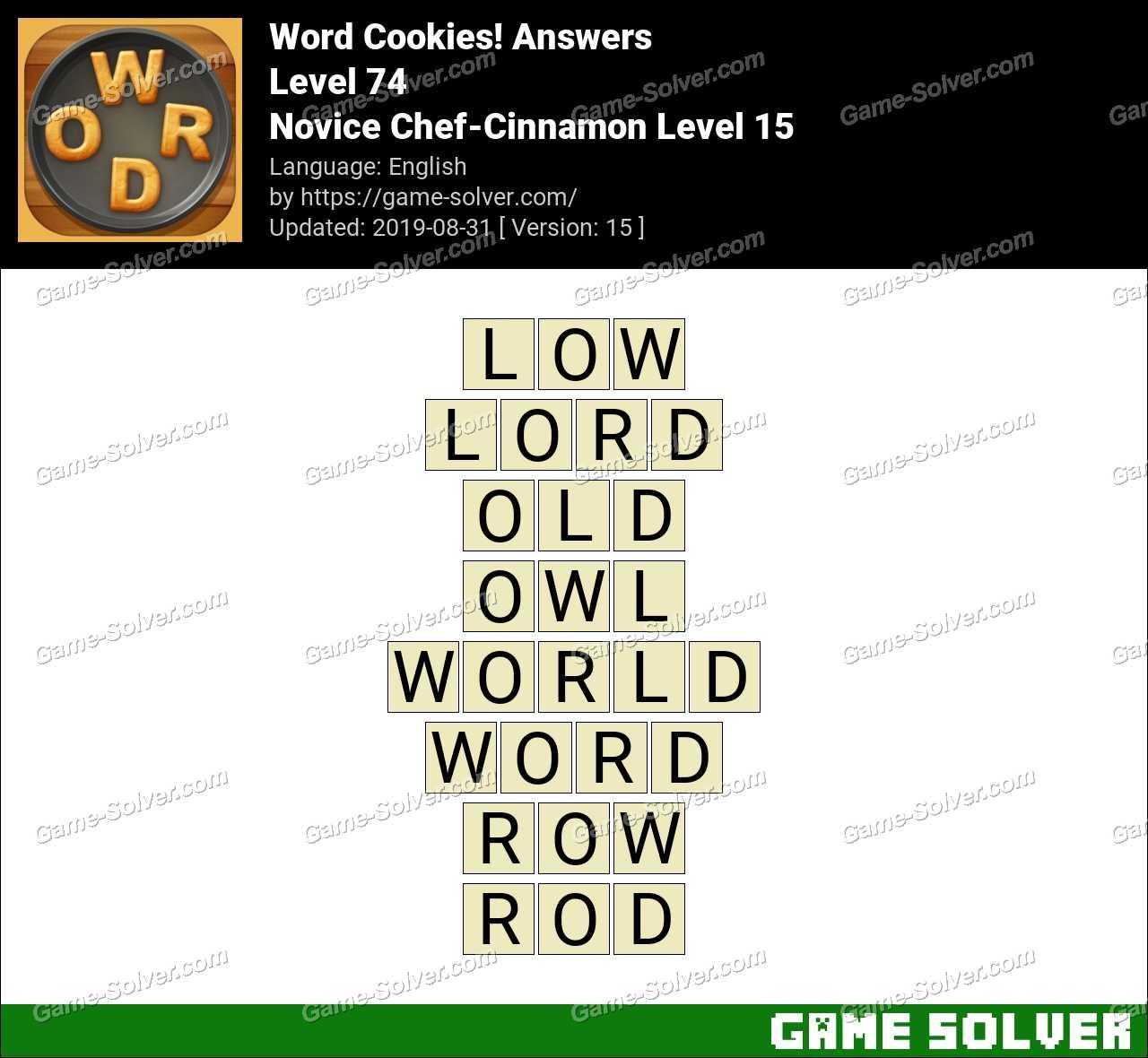 Word Cookies Novice Chef-Cinnamon Level 15 Answers
