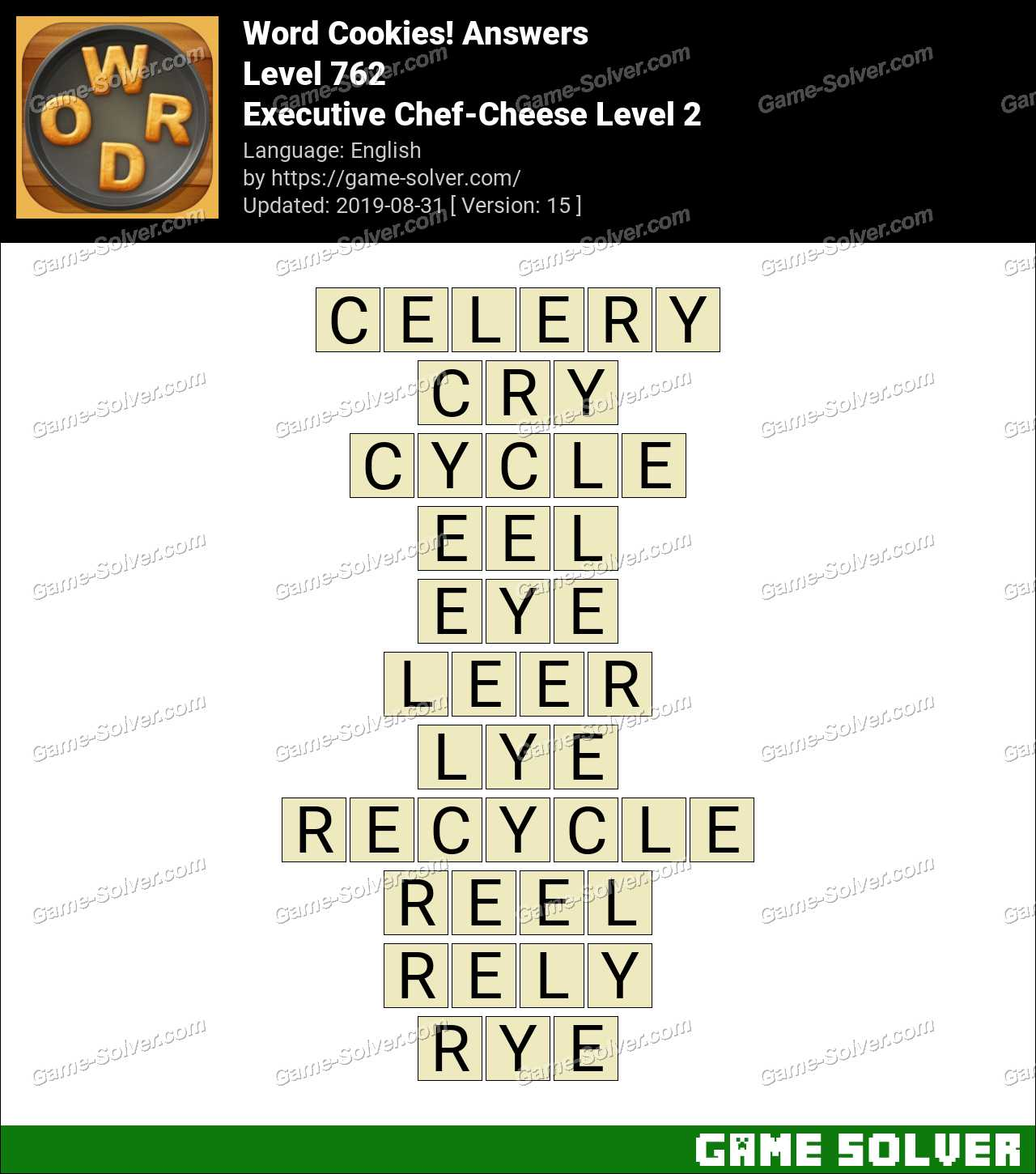 Word Cookies Executive Chef-Cheese Level 2 Answers