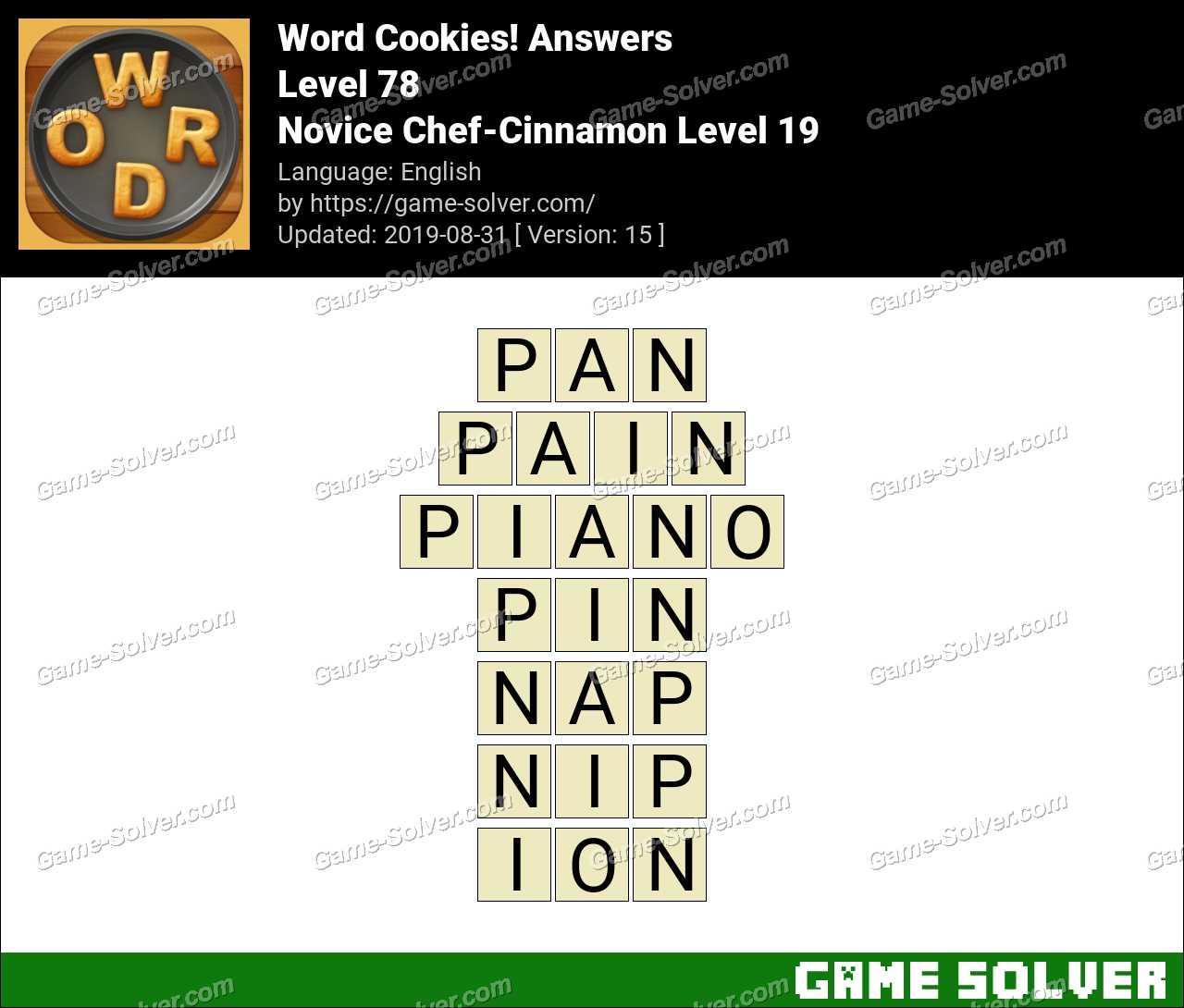 Word Cookies Novice Chef-Cinnamon Level 19 Answers