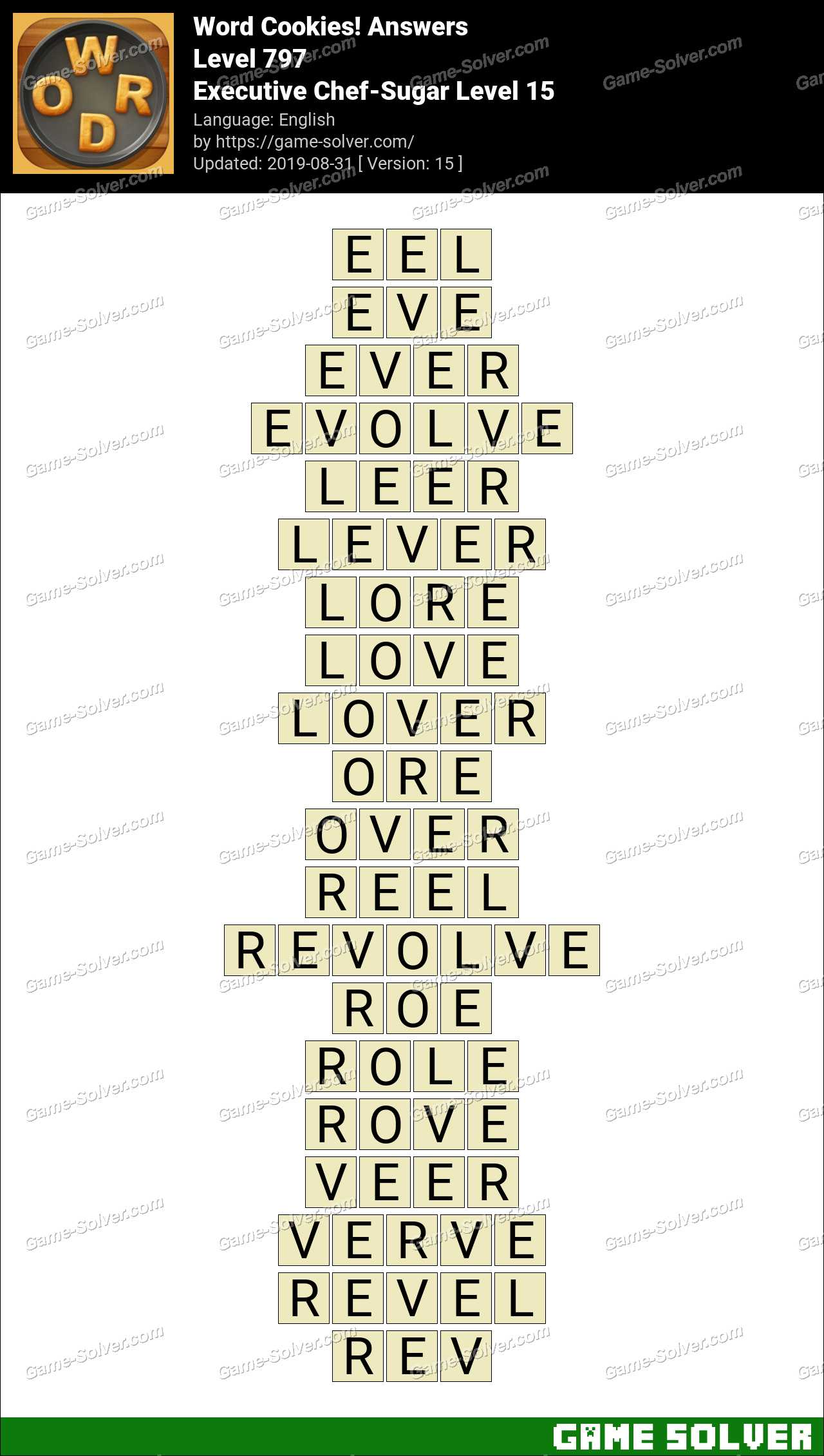 Word Cookies Executive Chef-Sugar Level 15 Answers