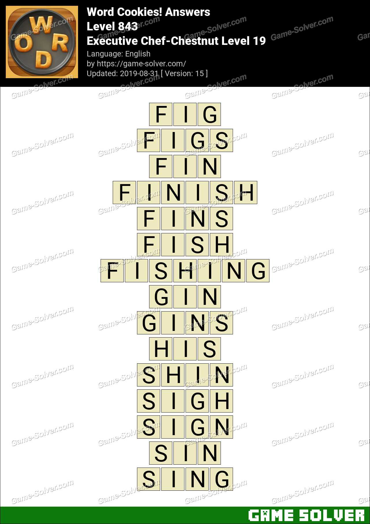 Word Cookies Executive Chef-Chestnut Level 19 Answers