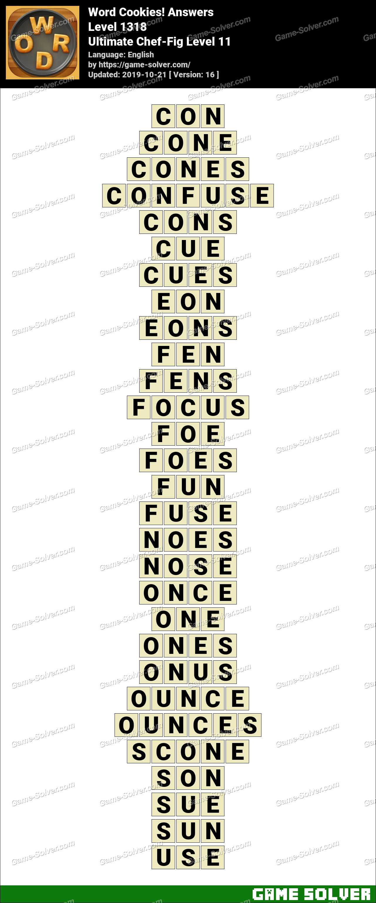 Word Cookies Ultimate Chef-Fig Level 11 Answers