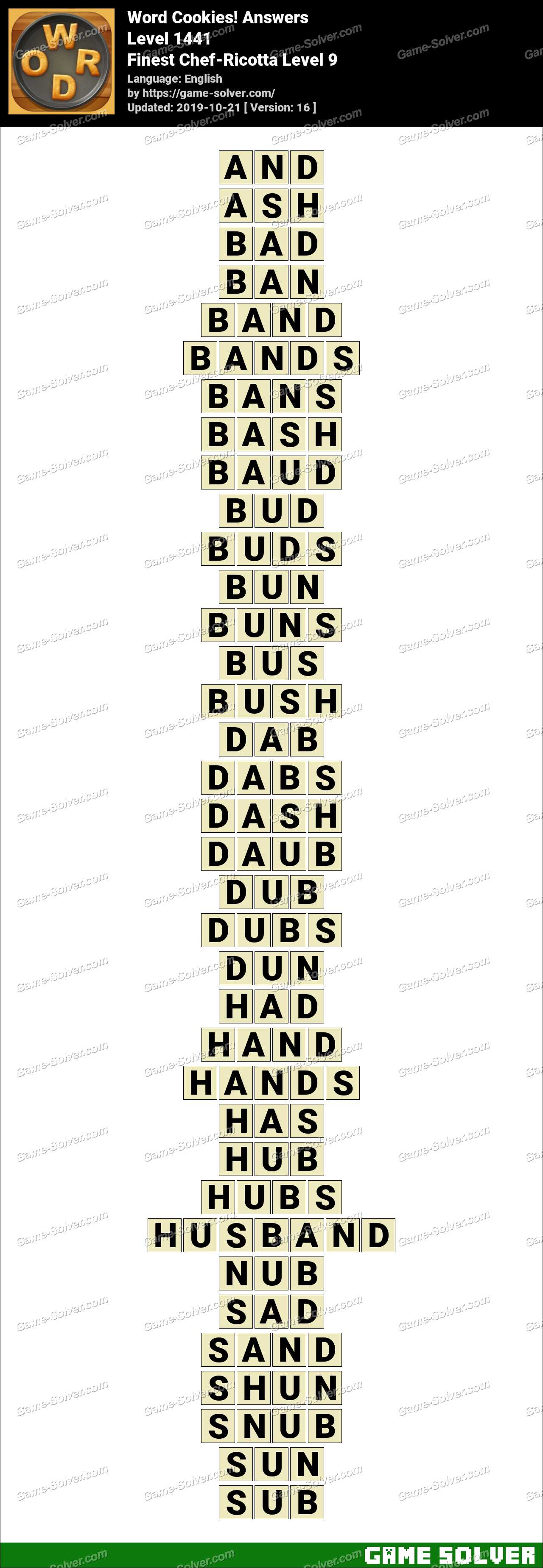 Word Cookies Finest Chef-Ricotta Level 9 Answers