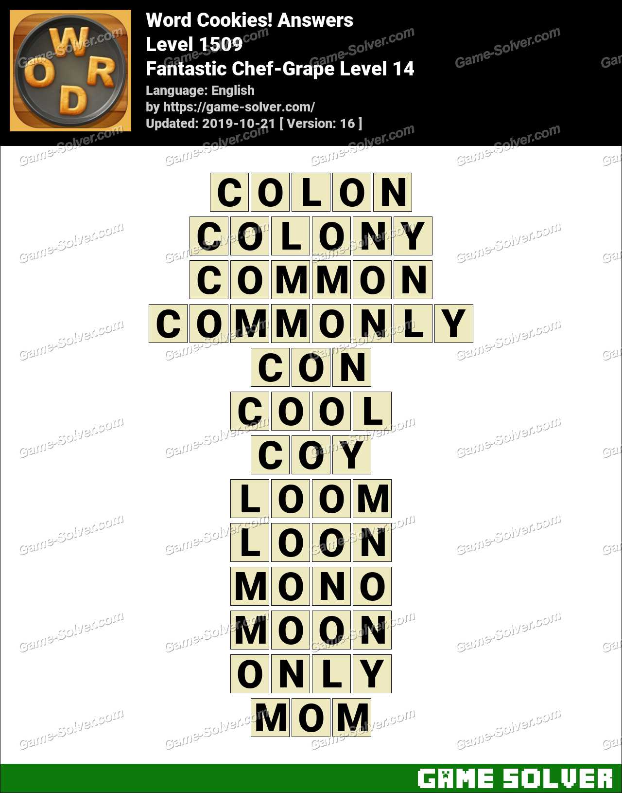 Word Cookies Fantastic Chef-Grape Level 14 Answers
