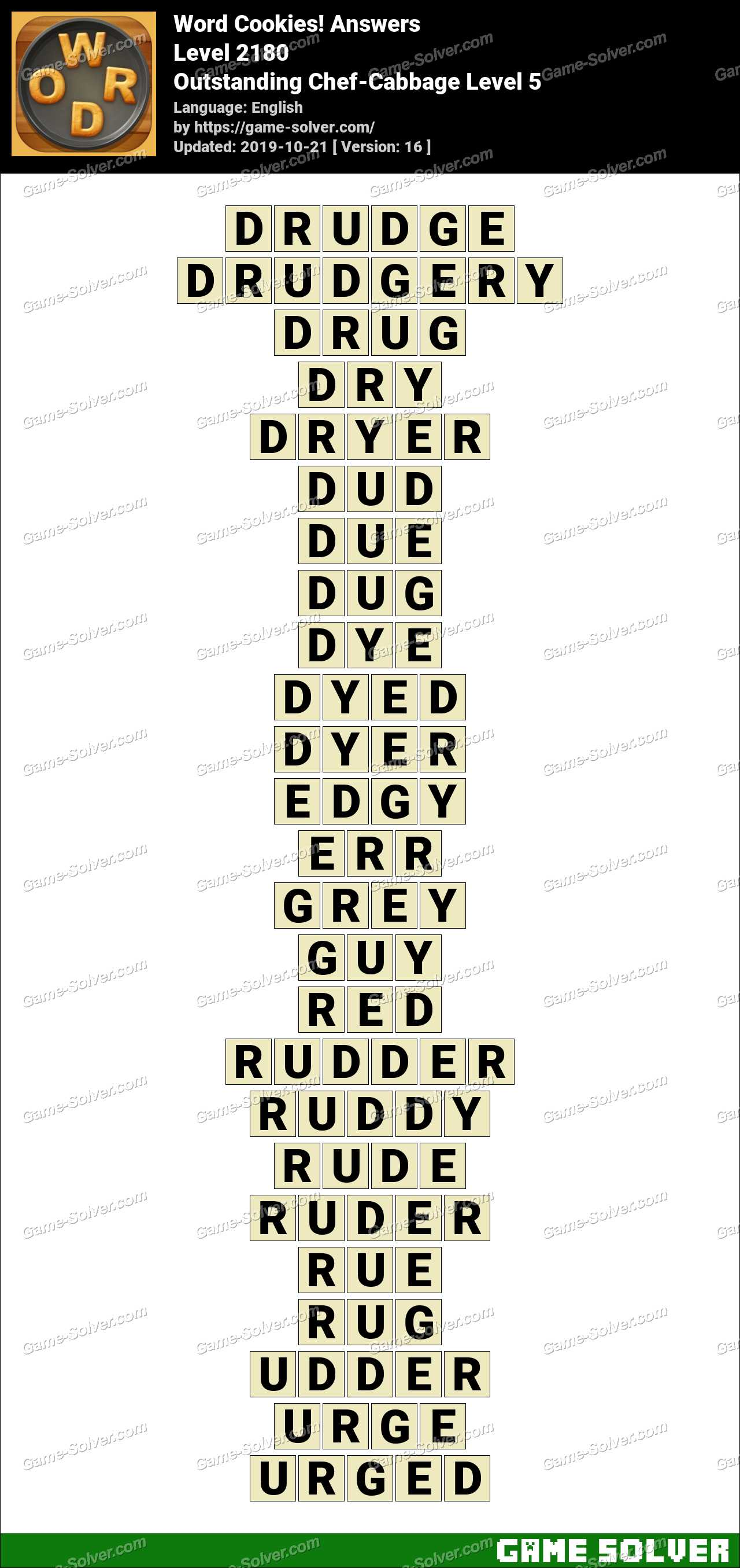 Word Cookies Outstanding Chef-Cabbage Level 5 Answers