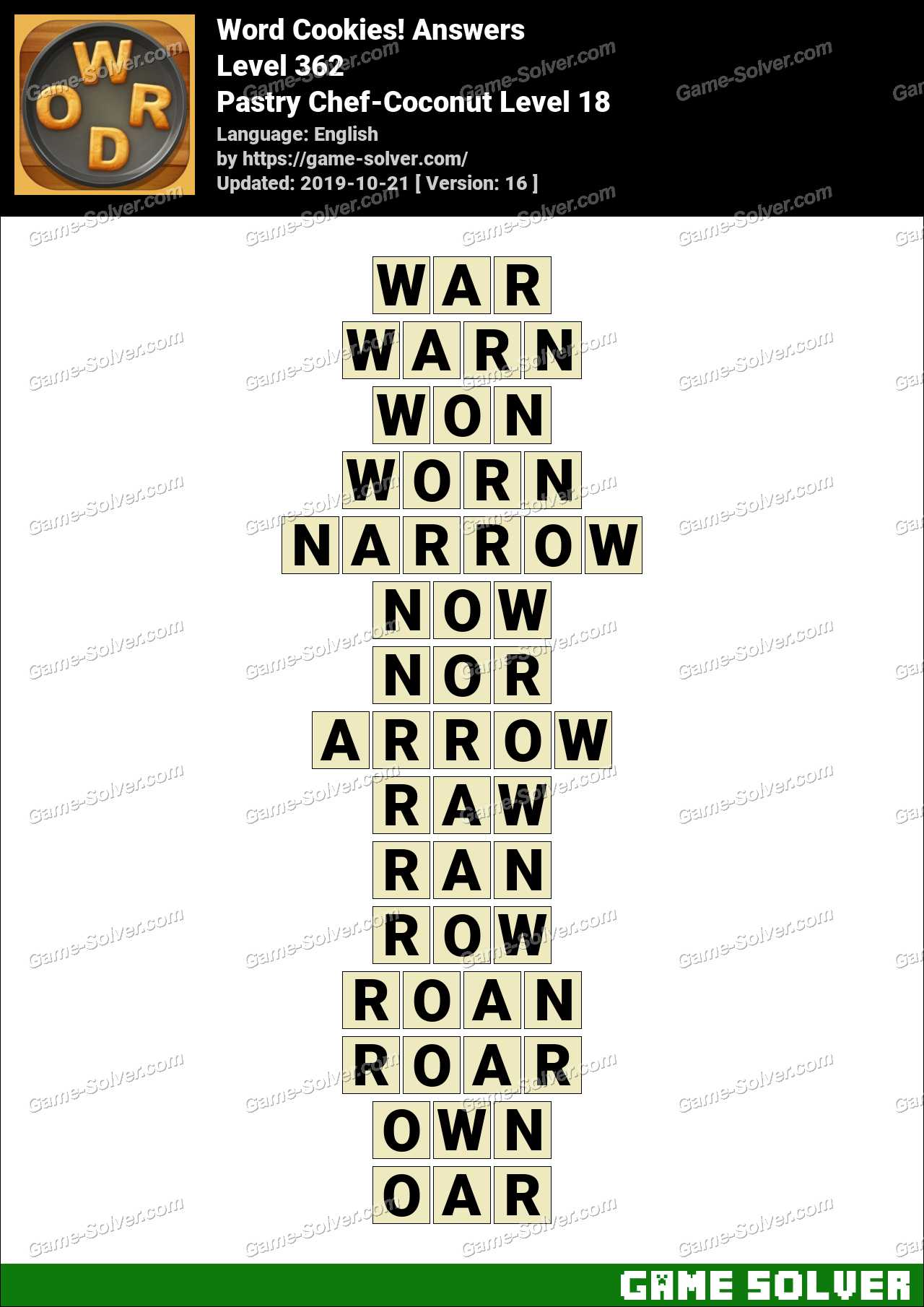 Word Cookies Pastry Chef-Coconut Level 18 Answers