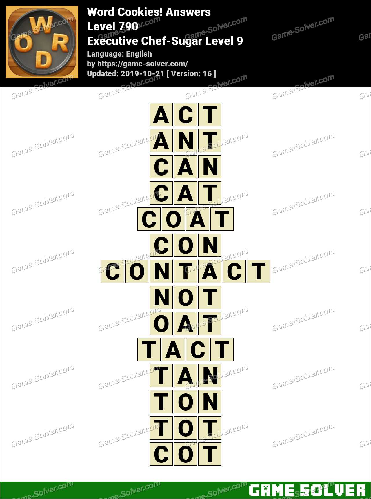 Word Cookies Executive Chef-Sugar Level 9 Answers