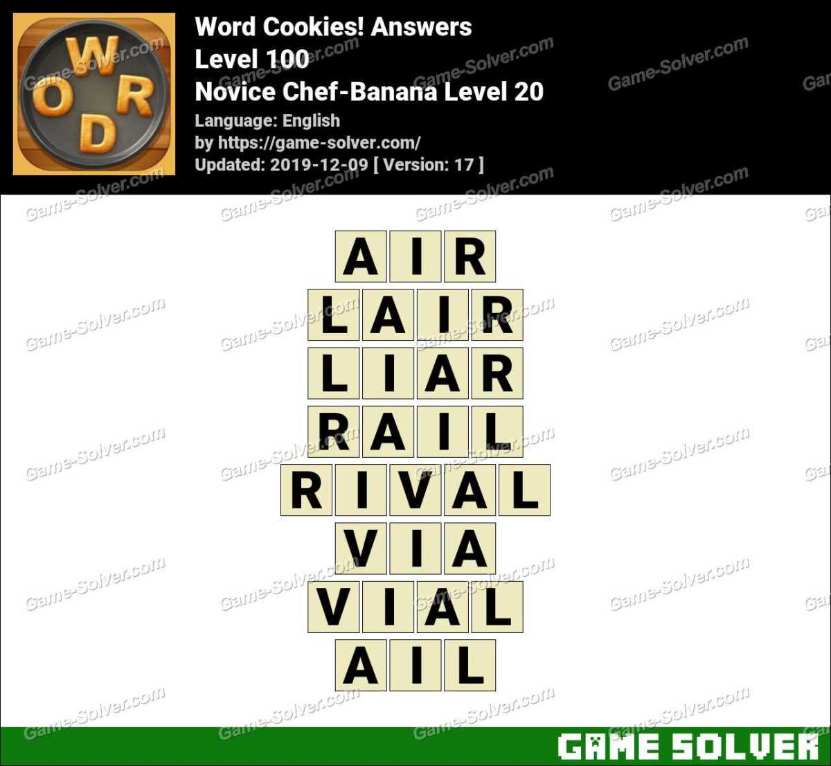 Word Cookies Novice Chef-Banana Level 20 Answers