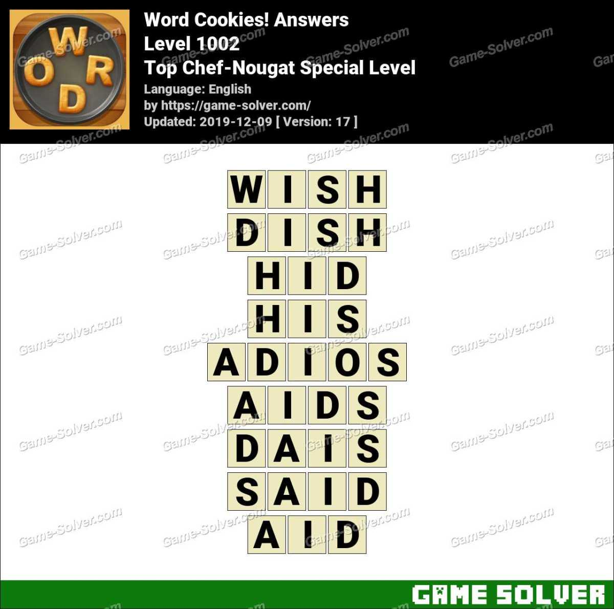Word Cookies Top Chef-Nougat Special Level Answers