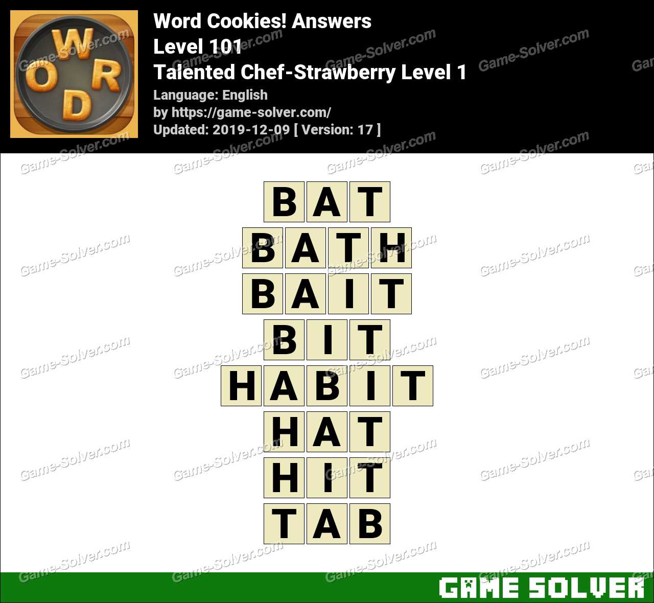 Word Cookies Talented Chef-Strawberry Level 1 Answers