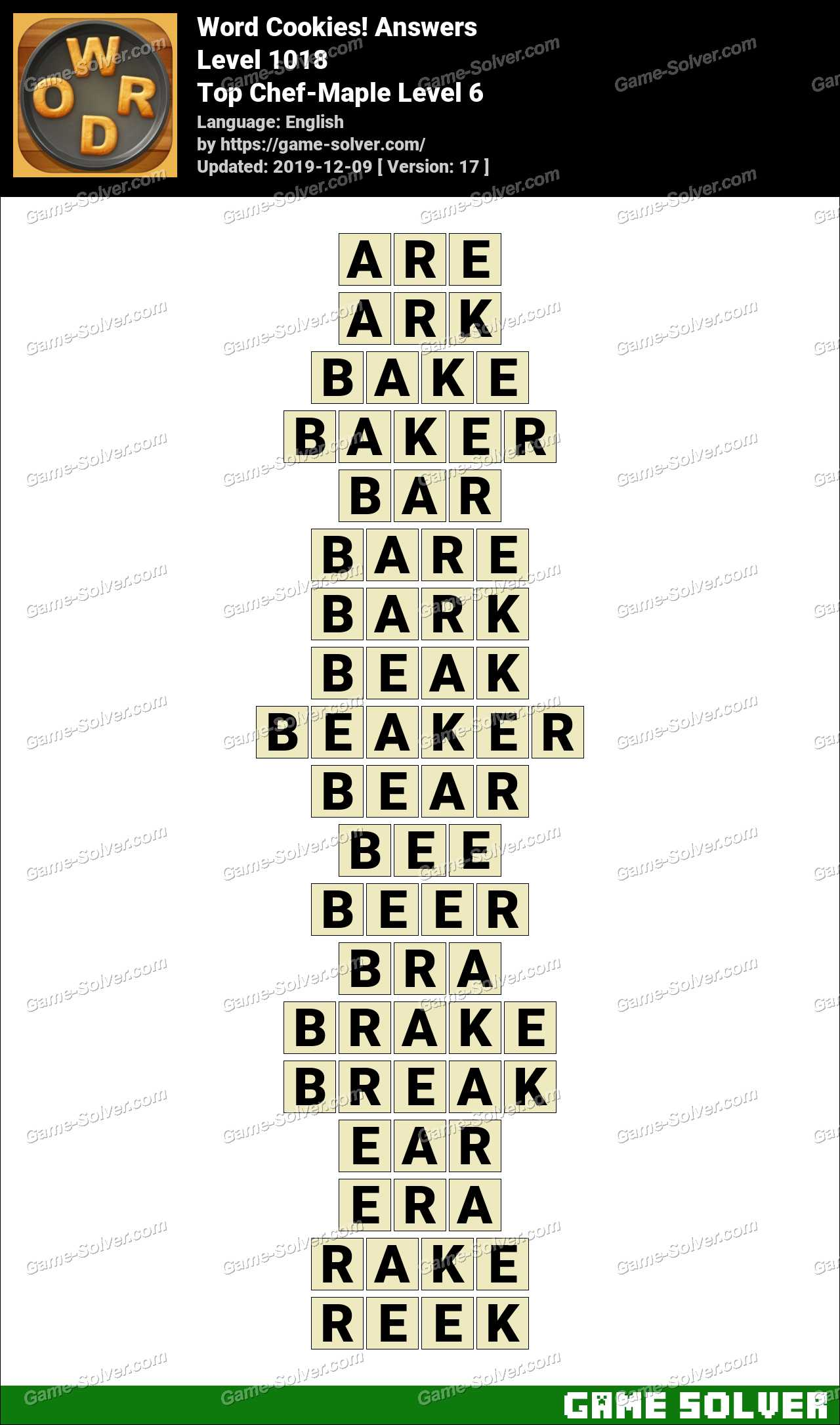 Word Cookies Top Chef-Maple Level 6 Answers