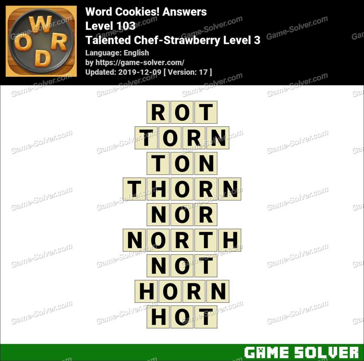 Word Cookies Talented Chef-Strawberry Level 3 Answers