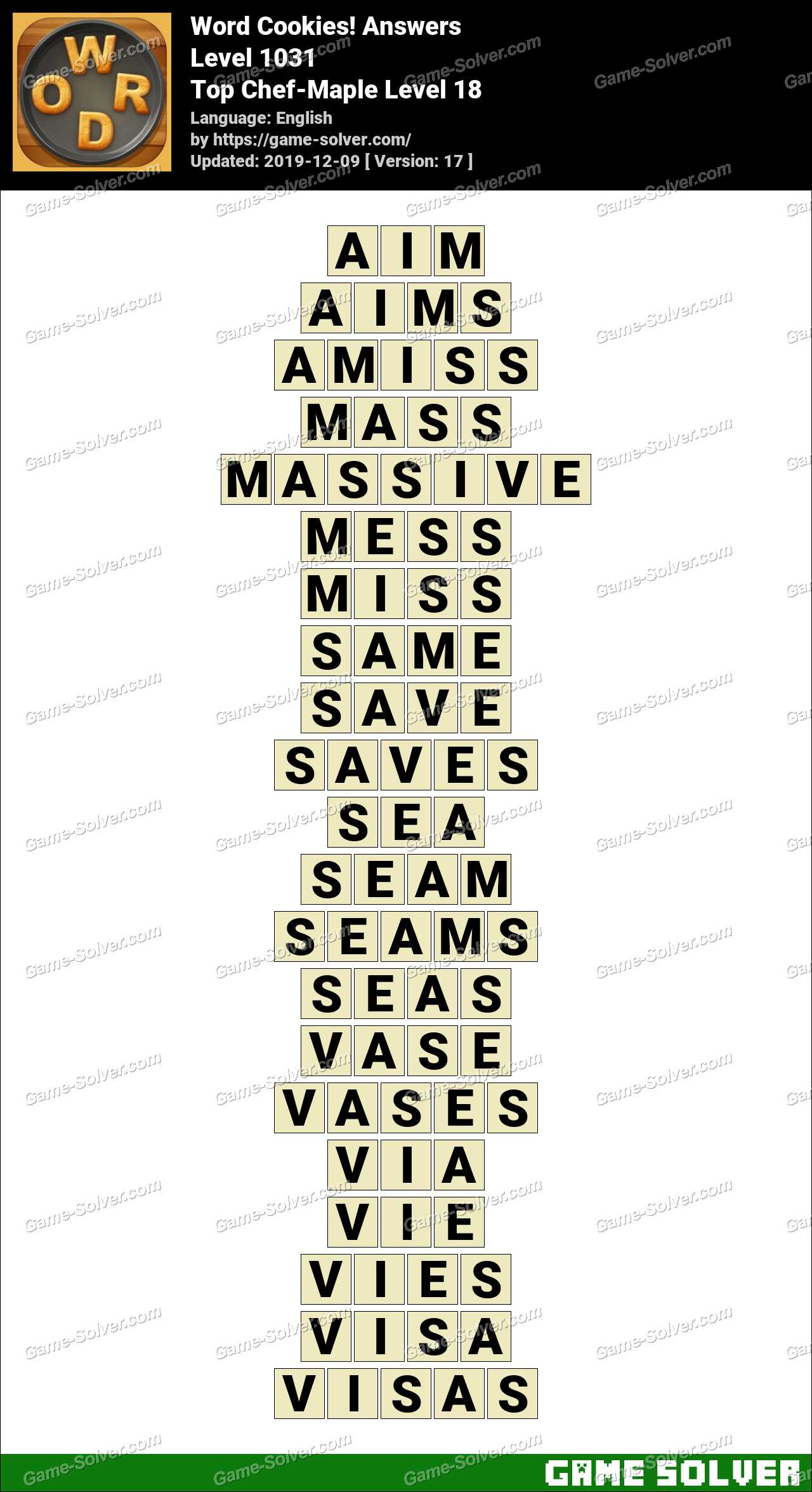 Word Cookies Top Chef-Maple Level 18 Answers