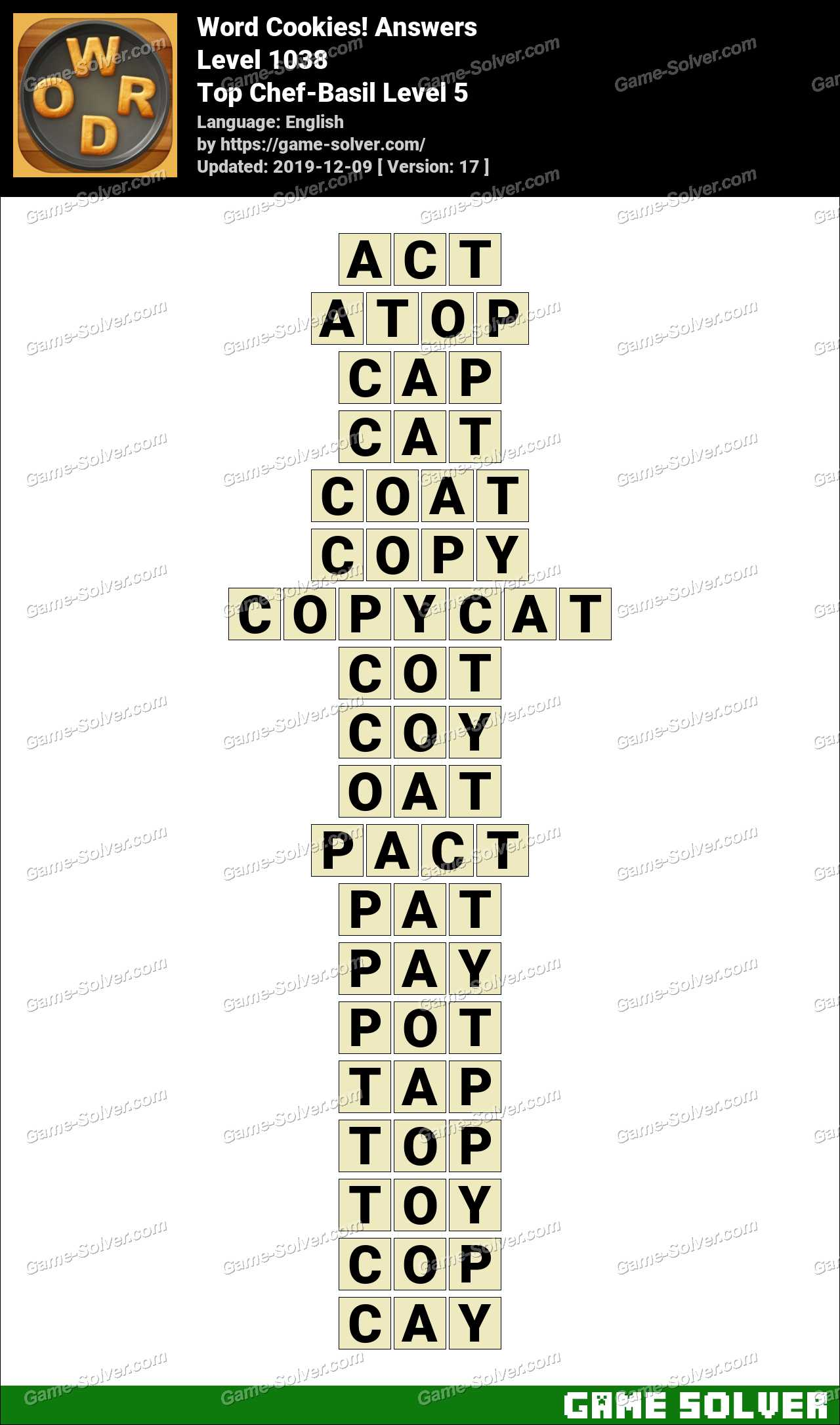 Word Cookies Top Chef-Basil Level 5 Answers