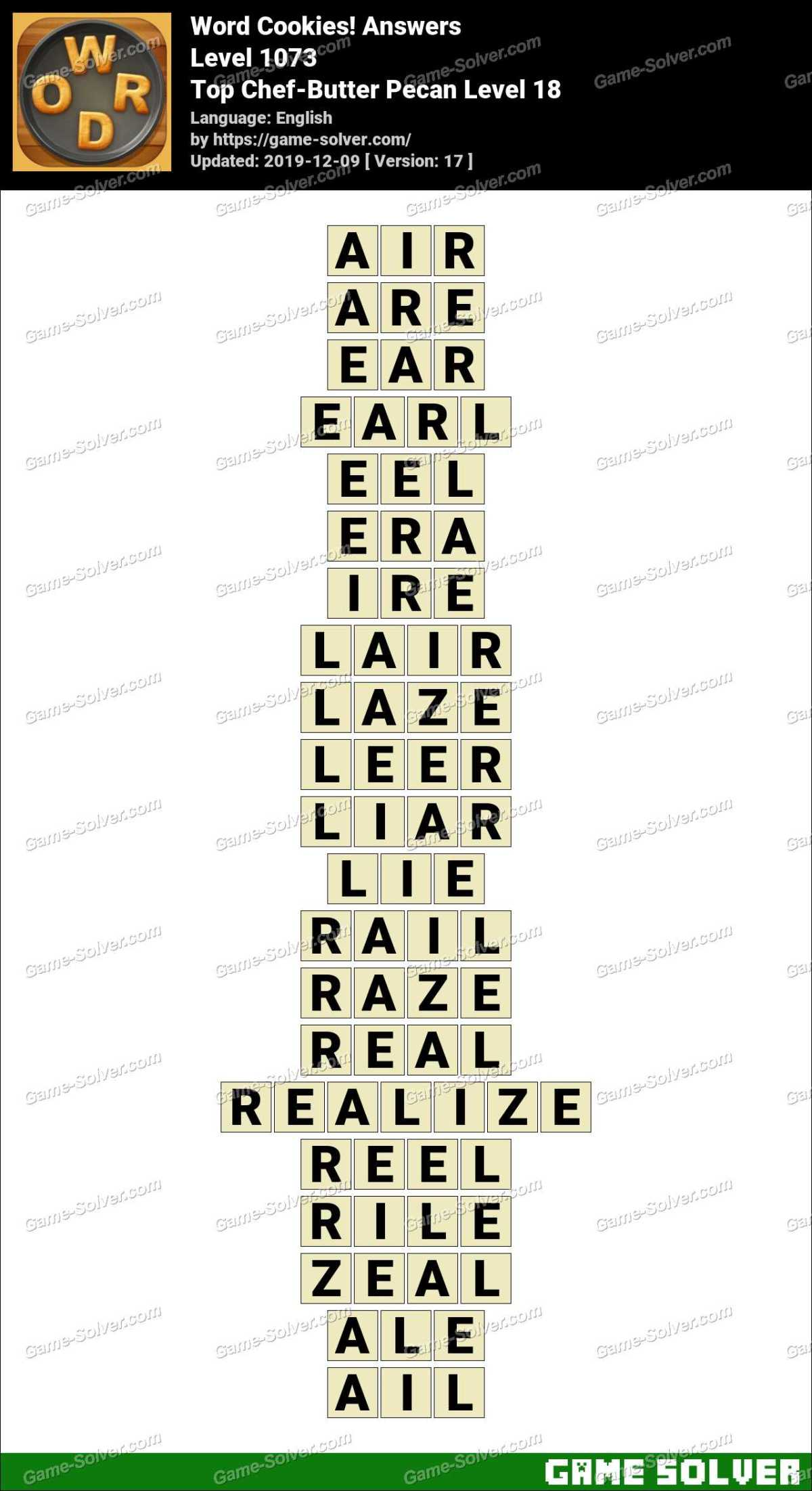 Word Cookies Top Chef-Butter Pecan Level 18 Answers