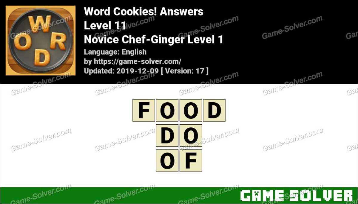 Word Cookies Novice Chef-Ginger Level 1 Answers