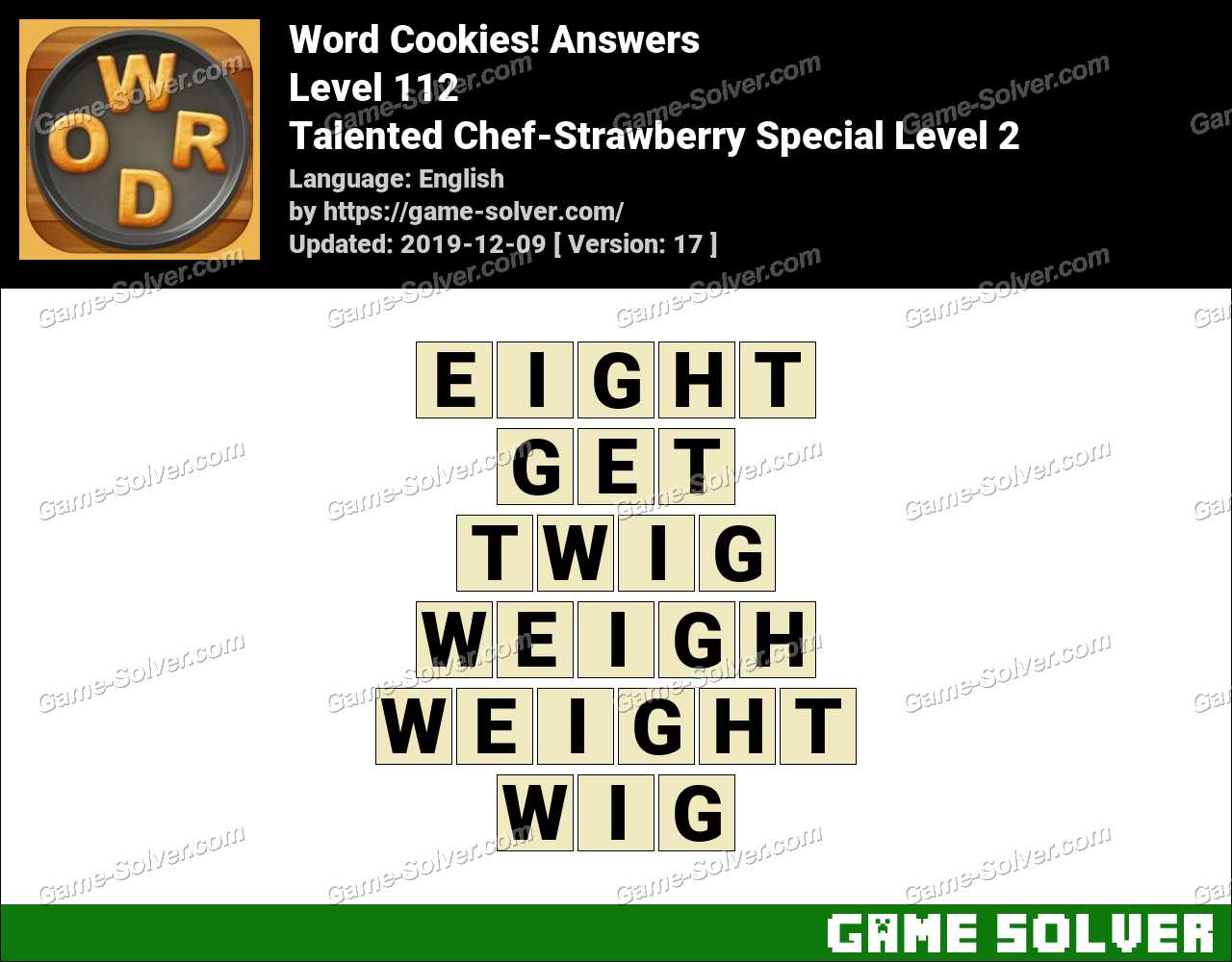 Word Cookies Talented Chef-Strawberry Special Level 2 Answers