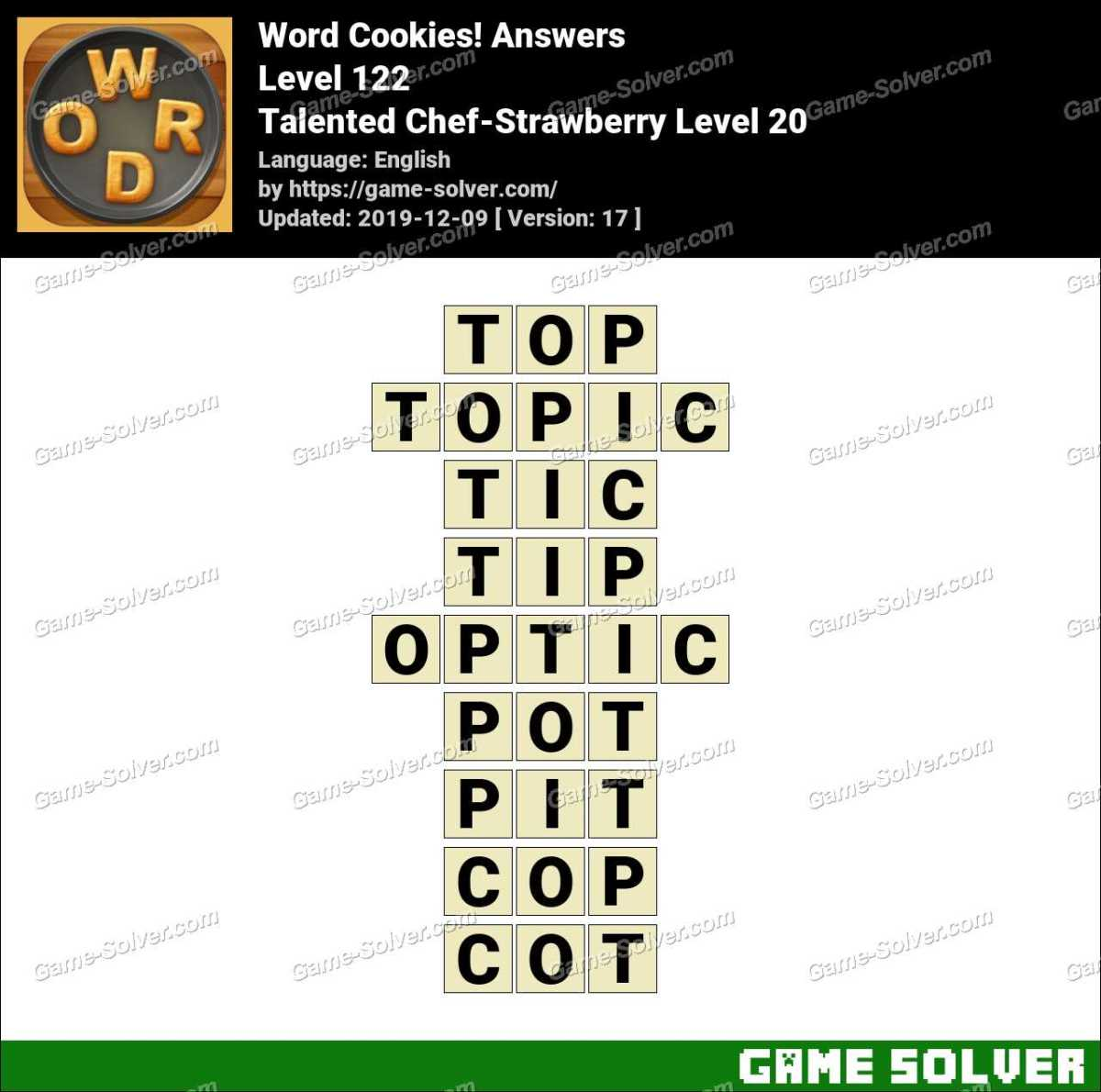 Word Cookies Talented Chef-Strawberry Level 20 Answers