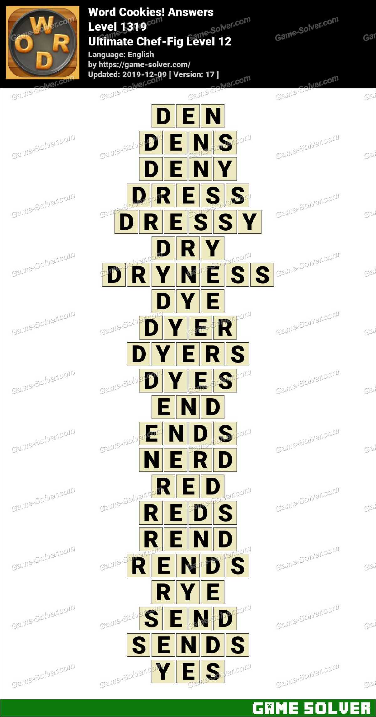 Word Cookies Ultimate Chef-Fig Level 12 Answers