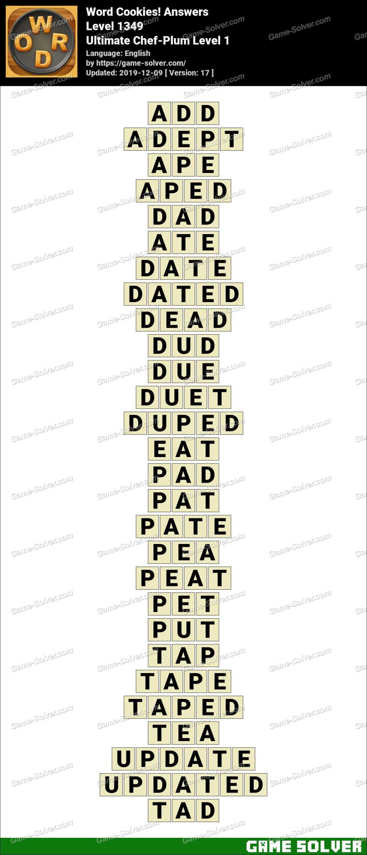 Word Cookies Ultimate Chef-Plum Level 1 Answers
