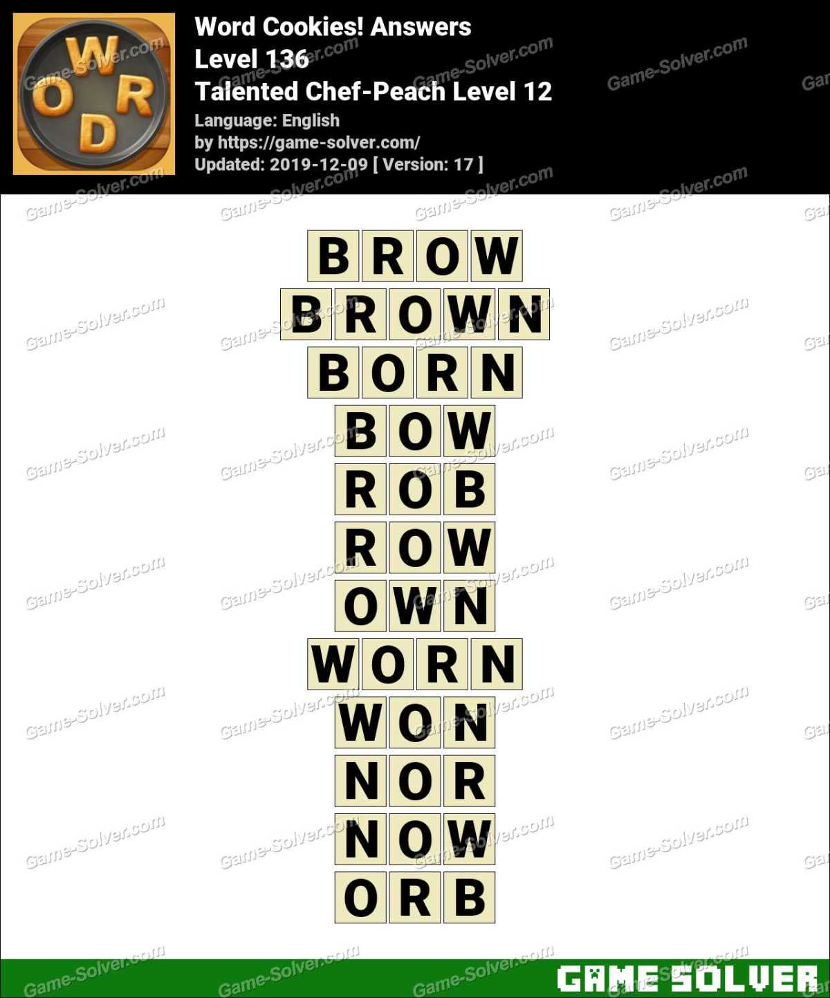 Word Cookies Talented Chef-Peach Level 12 Answers