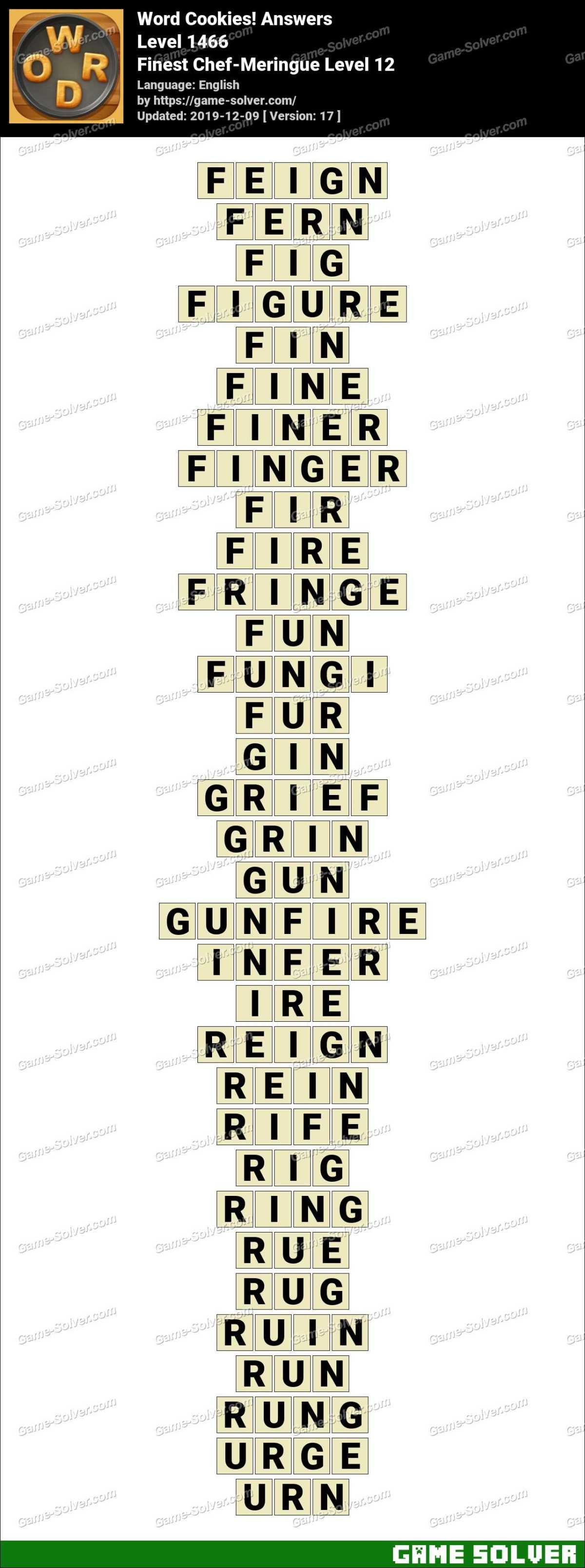 Word Cookies Finest Chef-Meringue Level 12 Answers