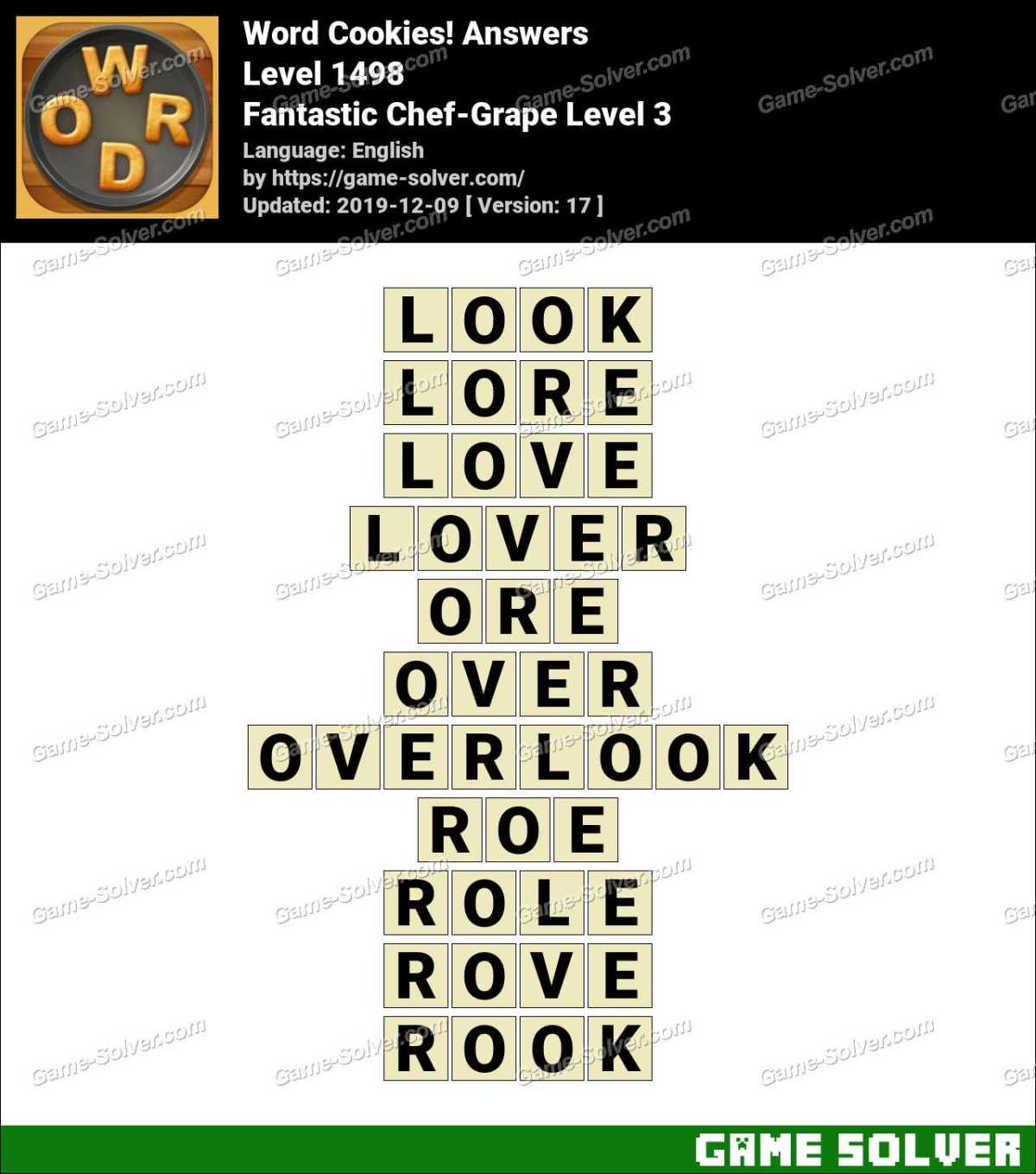 Word Cookies Fantastic Chef-Grape Level 3 Answers