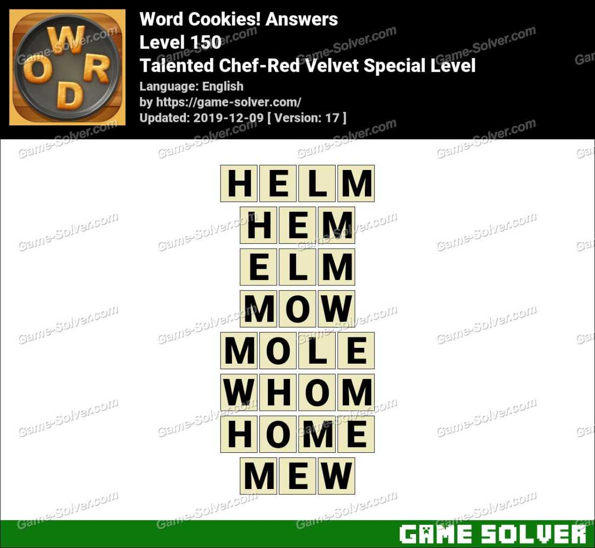 Word Cookies Talented Chef-Red Velvet Special Level Answers