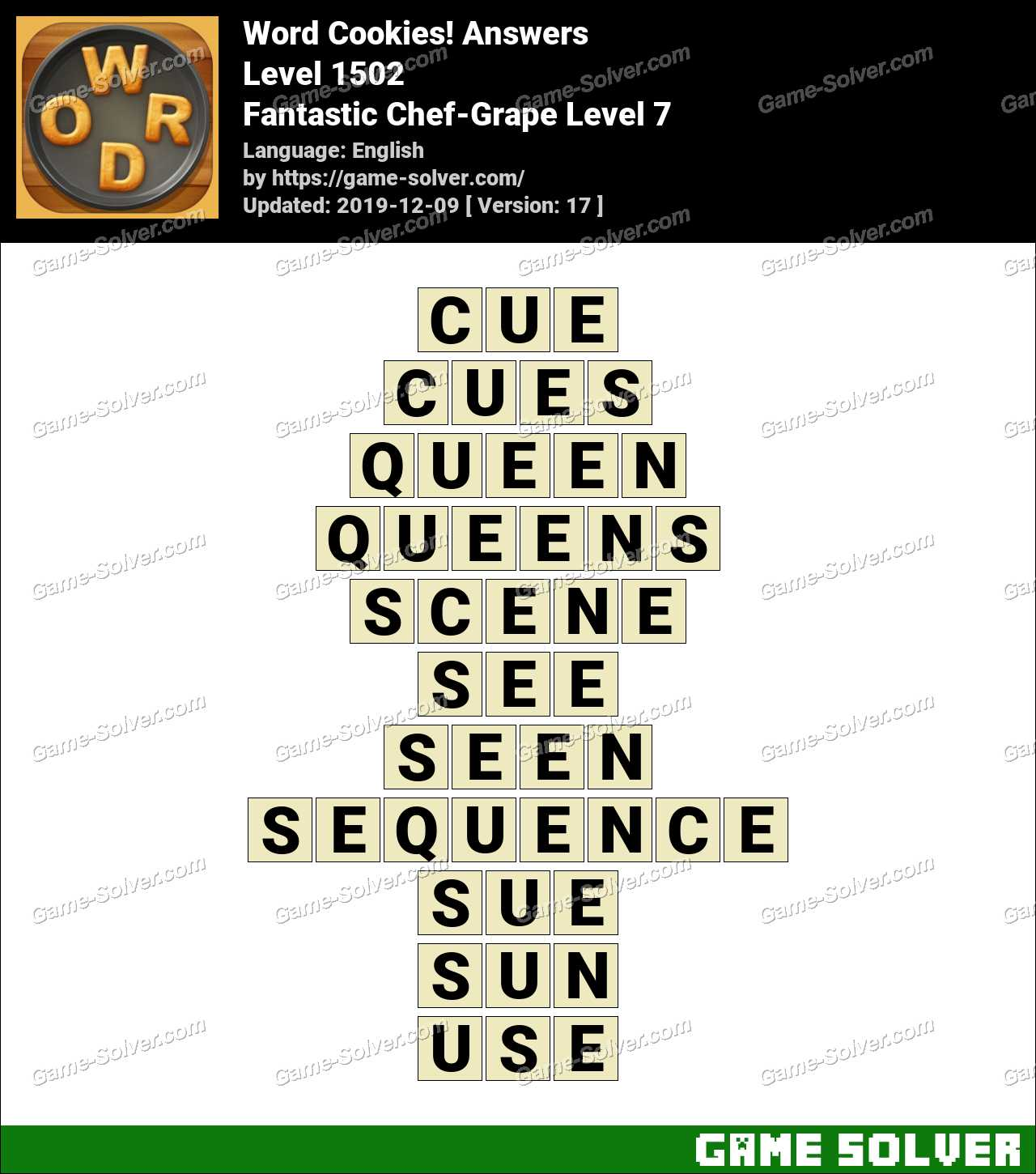 Word Cookies Fantastic Chef-Grape Level 7 Answers