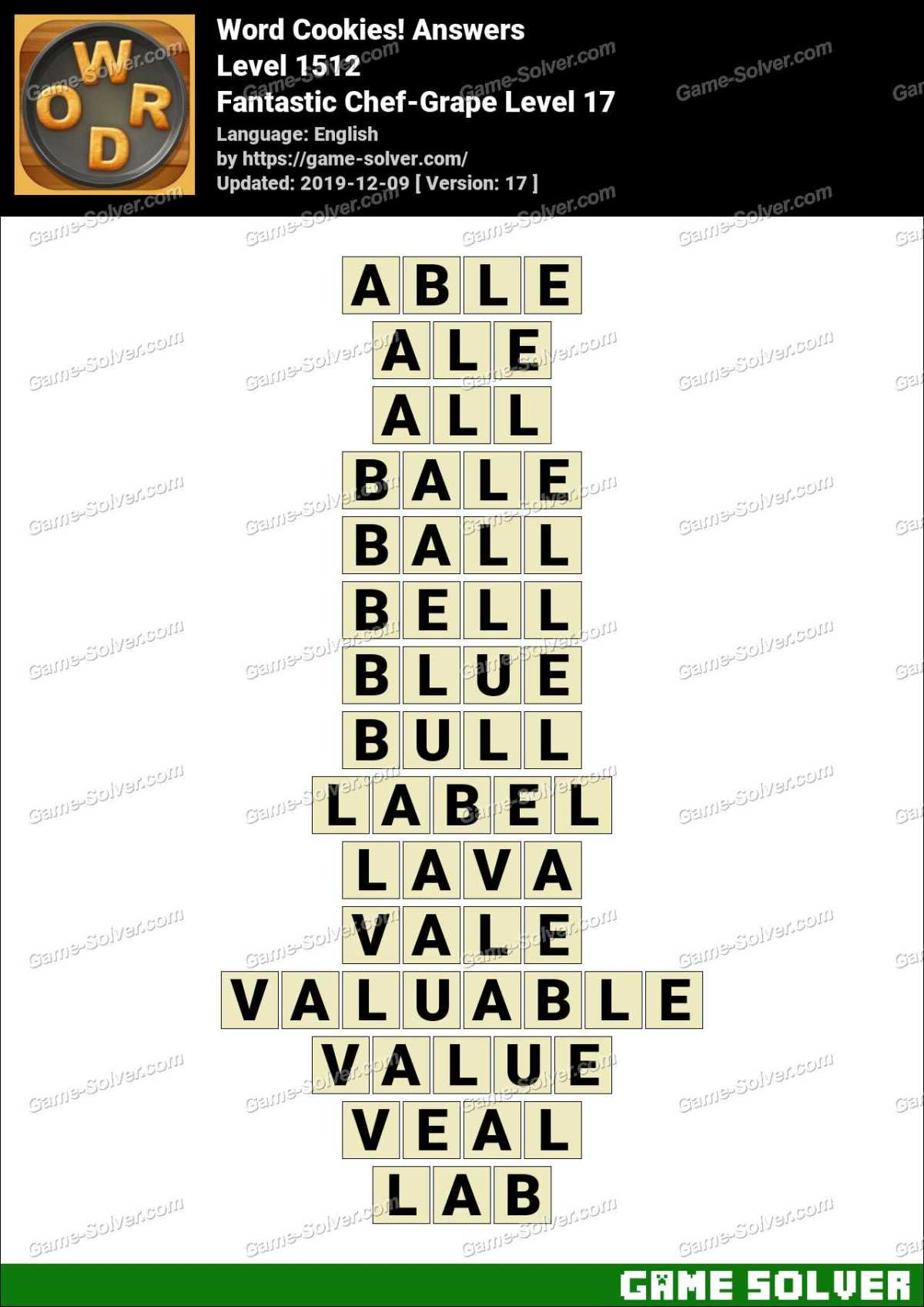 Word Cookies Fantastic Chef-Grape Level 17 Answers