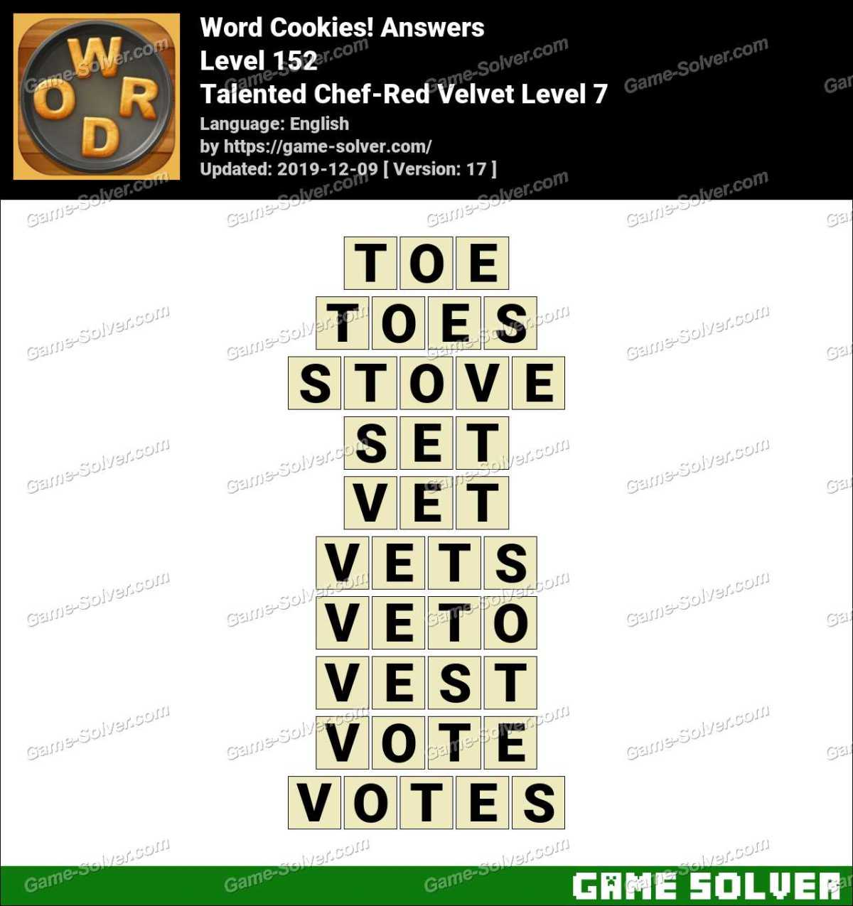 Word Cookies Talented Chef-Red Velvet Level 7 Answers