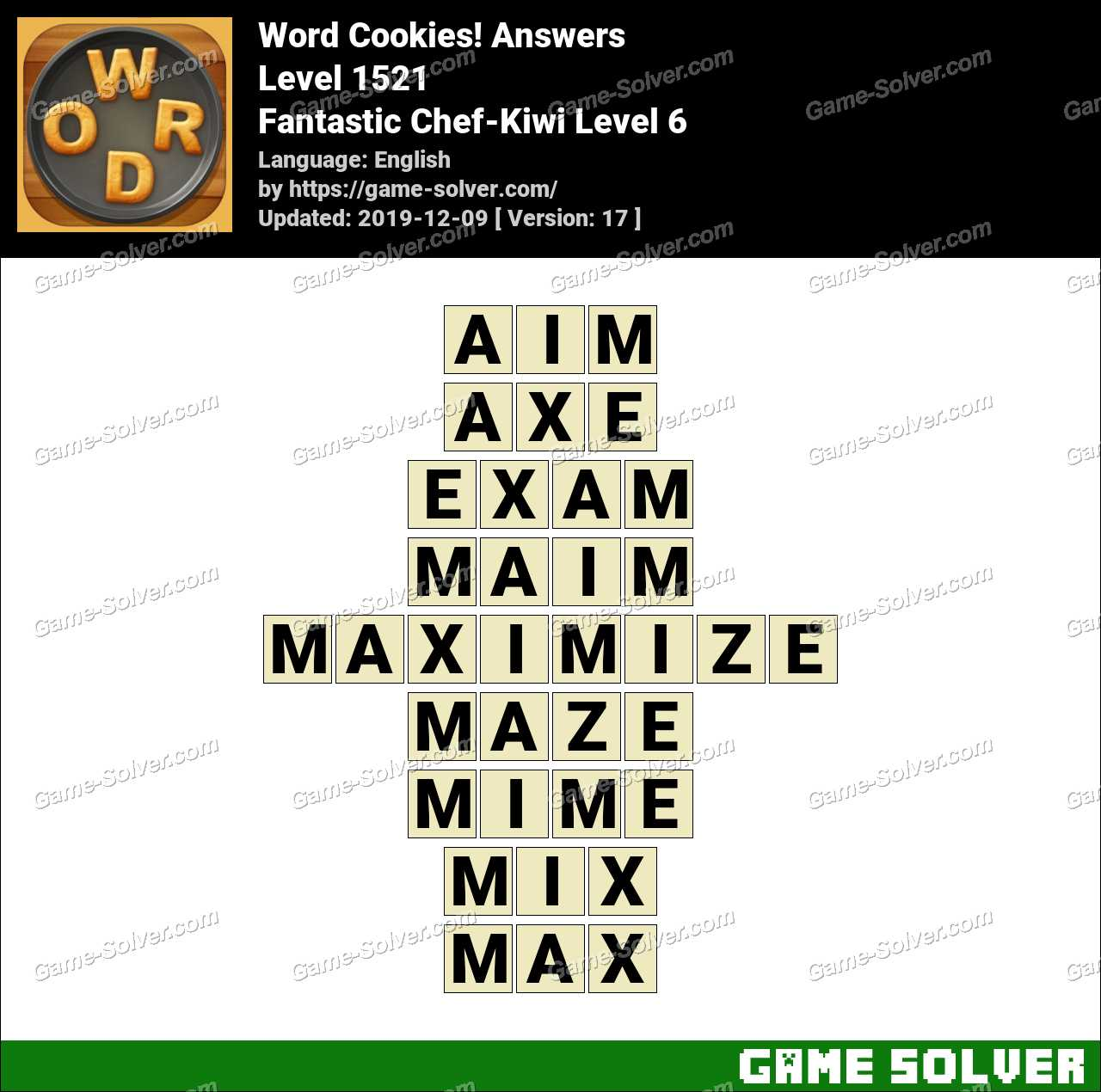 Word Cookies Fantastic Chef-Kiwi Level 6 Answers