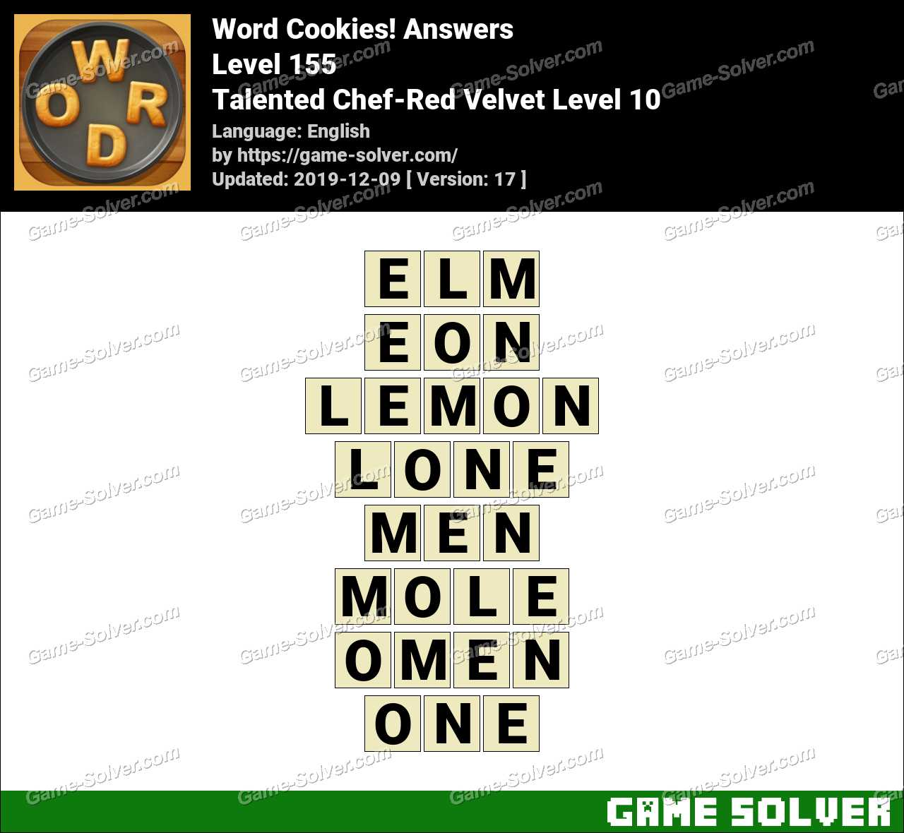 Word Cookies Talented Chef-Red Velvet Level 10 Answers