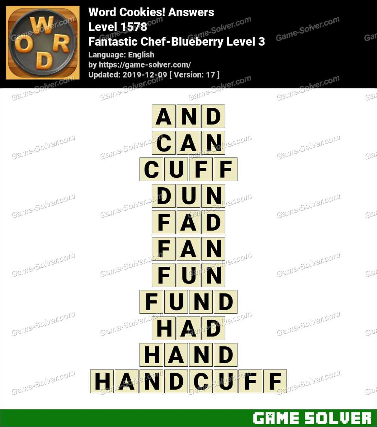 Word Cookies Fantastic Chef-Blueberry Level 3 Answers