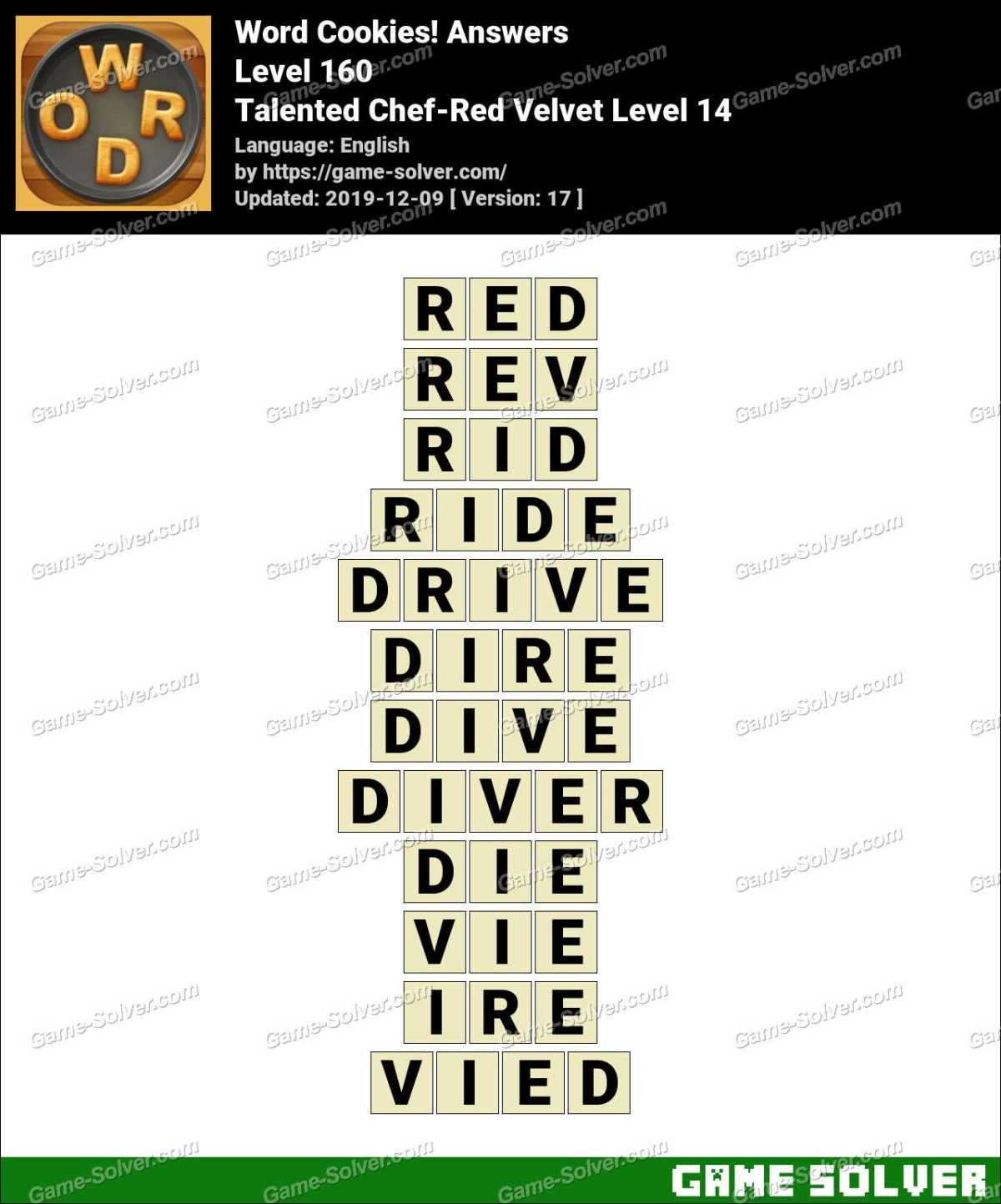 Word Cookies Talented Chef-Red Velvet Level 14 Answers