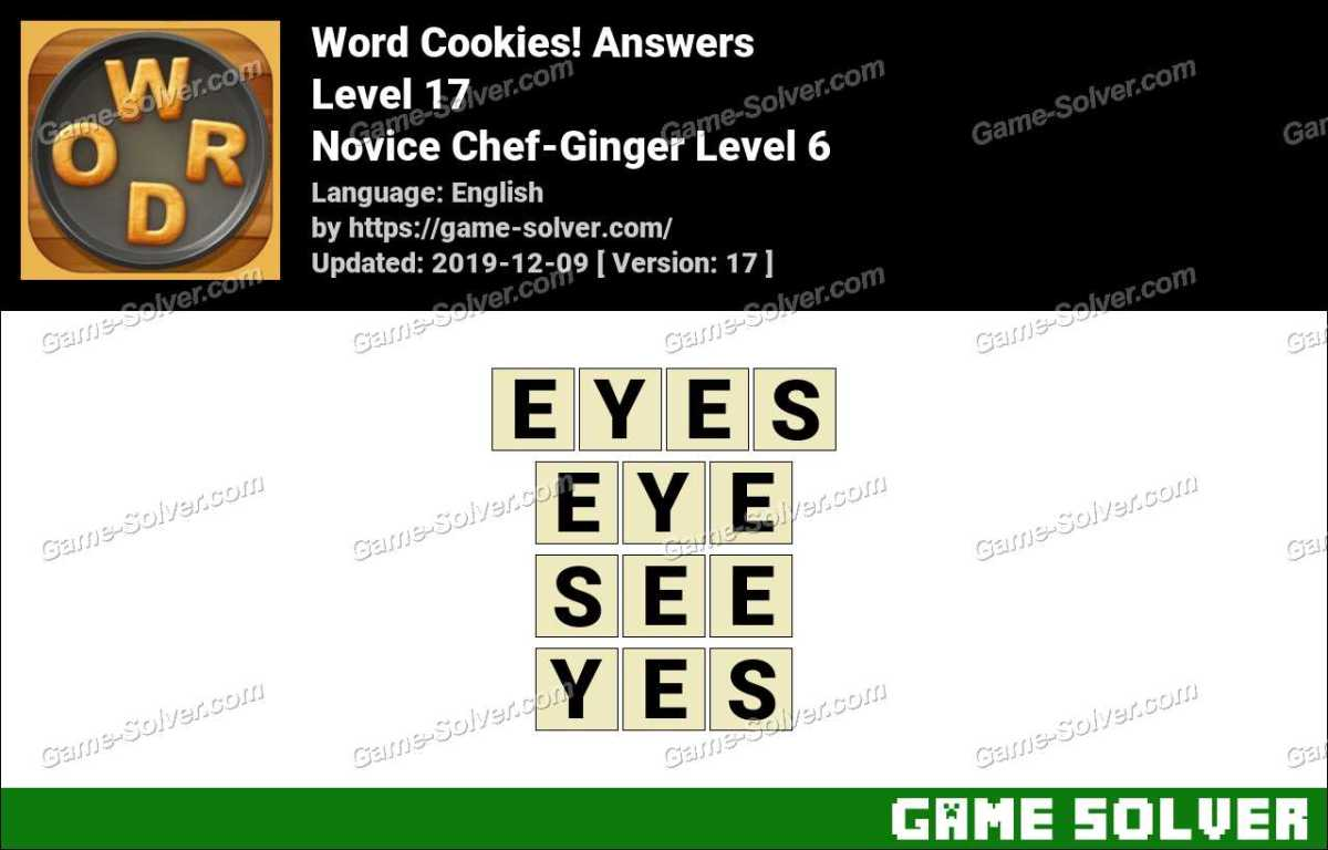 Word Cookies Novice Chef-Ginger Level 6 Answers