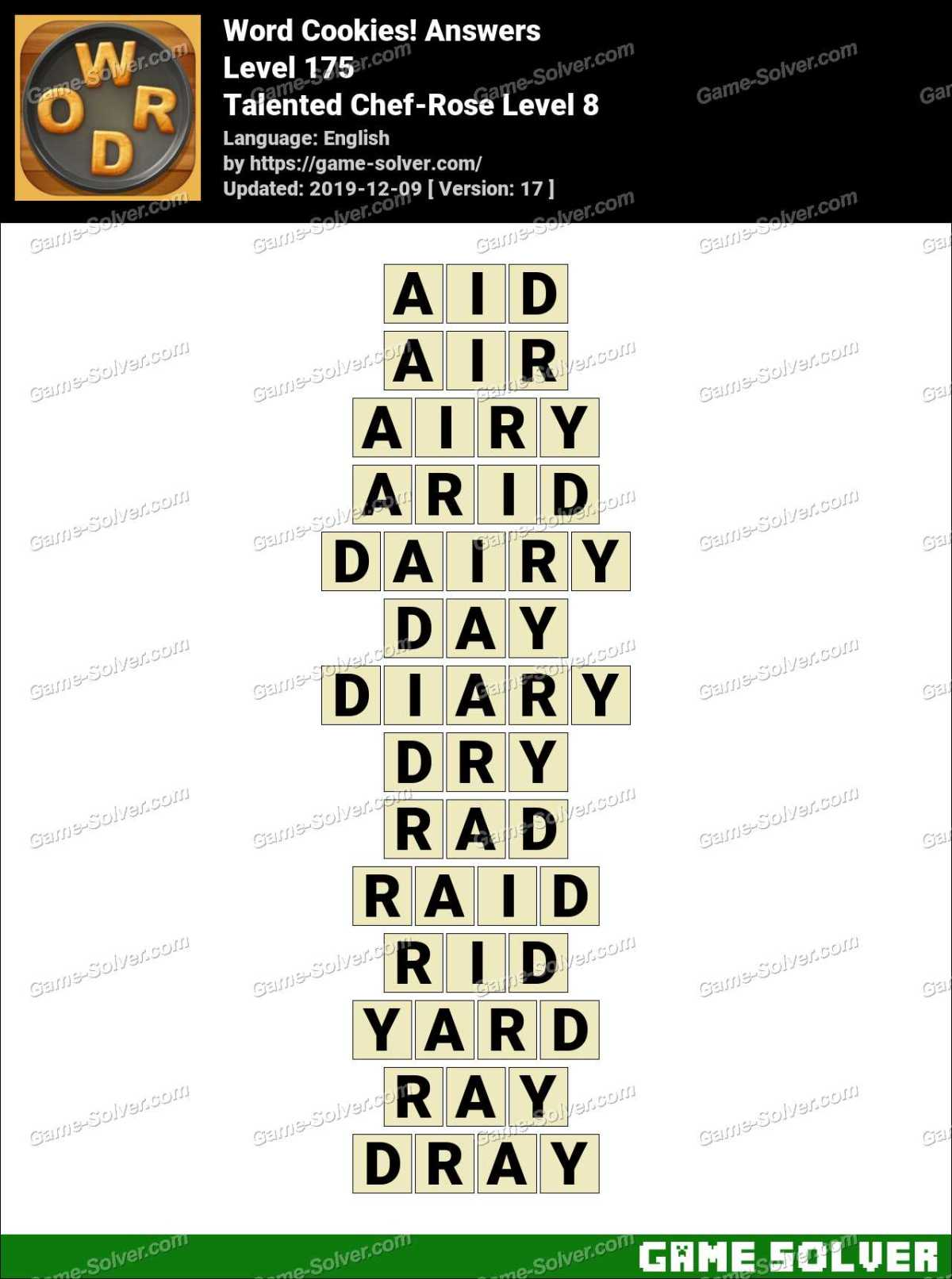 Word Cookies Talented Chef-Rose Level 8 Answers