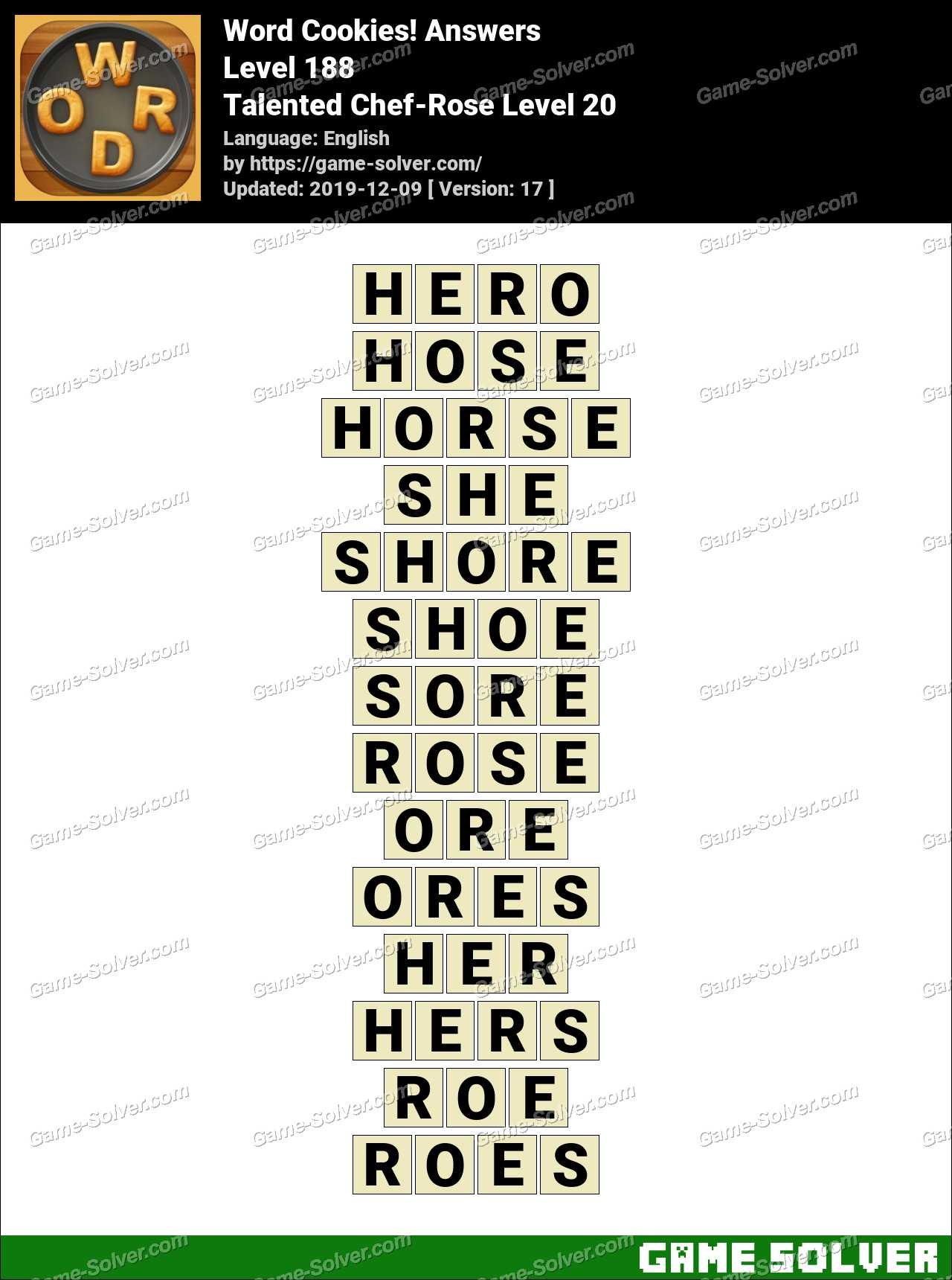 Word Cookies Talented Chef-Rose Level 20 Answers - Game Solver