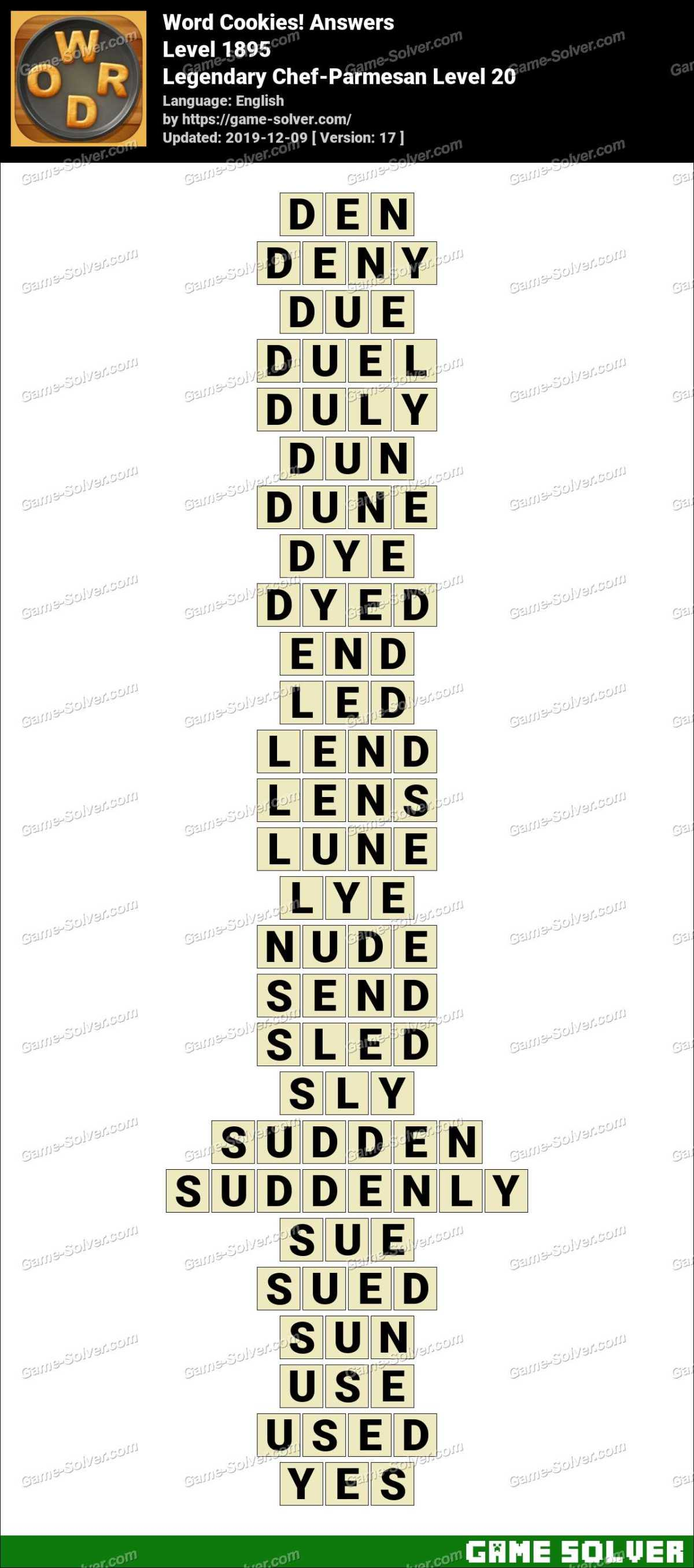 Word Cookies Legendary Chef-Parmesan Level 20 Answers